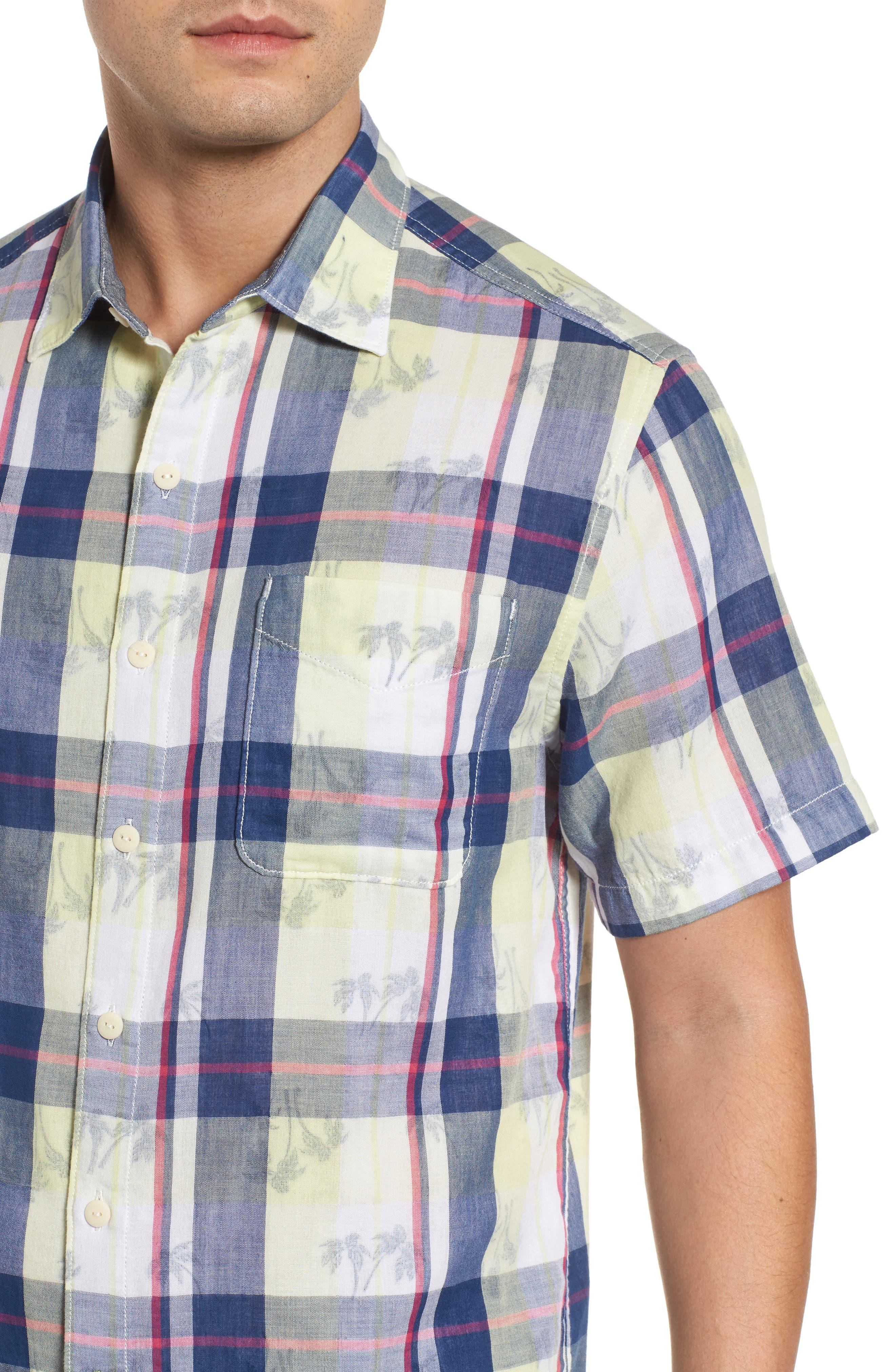 Double Flora Plaid Cotton Camp Shirt,                             Alternate thumbnail 4, color,                             Kingdom Blue