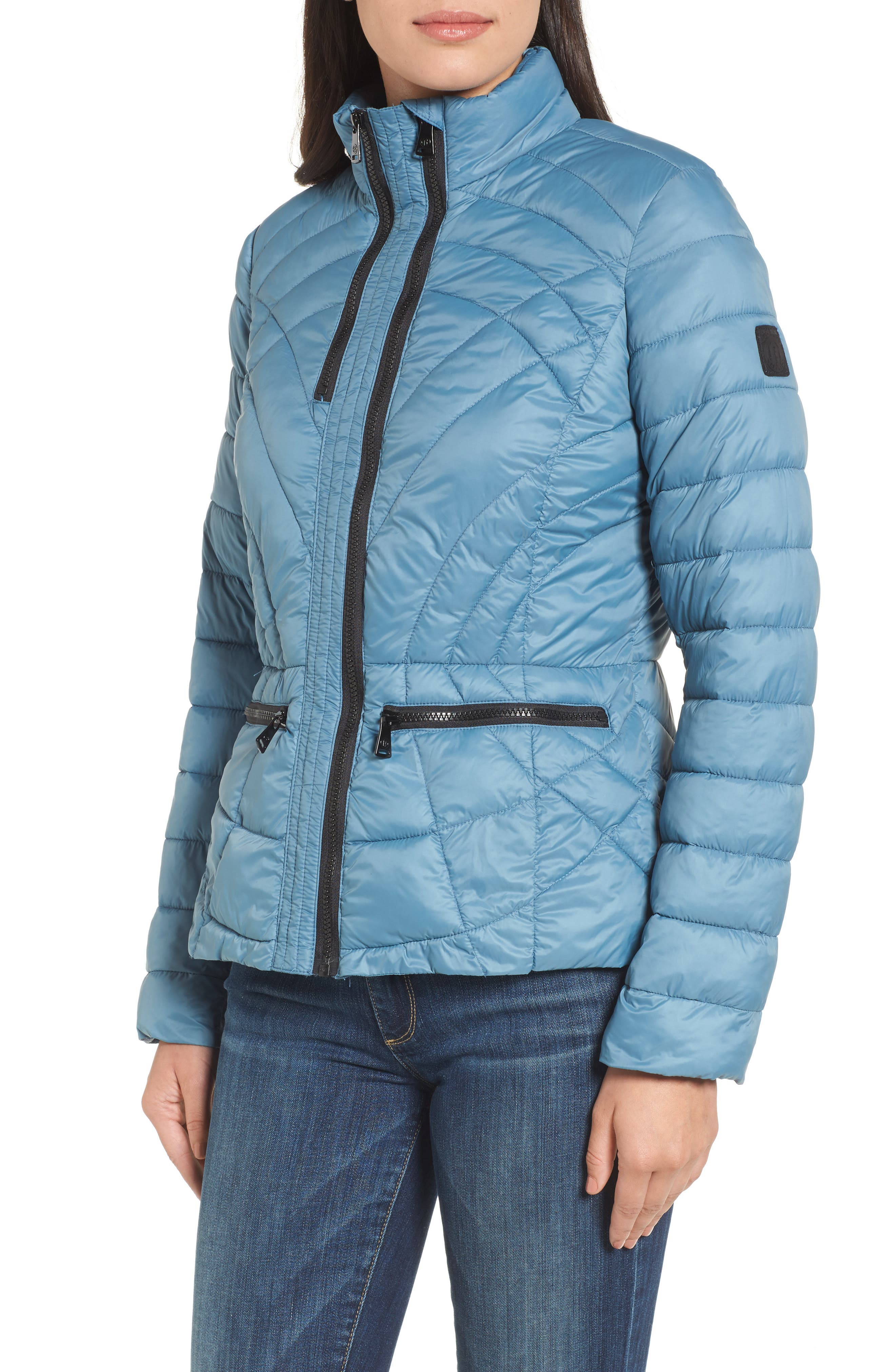 Sporty Water-Resistant Quilted Jacket,                             Alternate thumbnail 4, color,                             Aqua Blue
