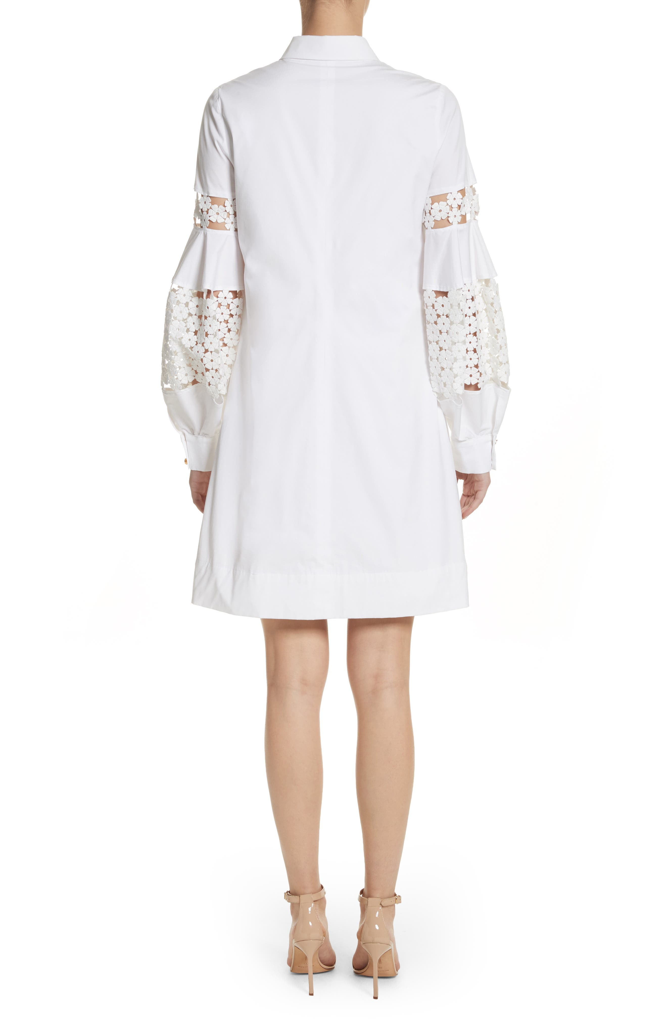 Lace Inset Puff Sleeve Shirtdress,                             Alternate thumbnail 2, color,                             White