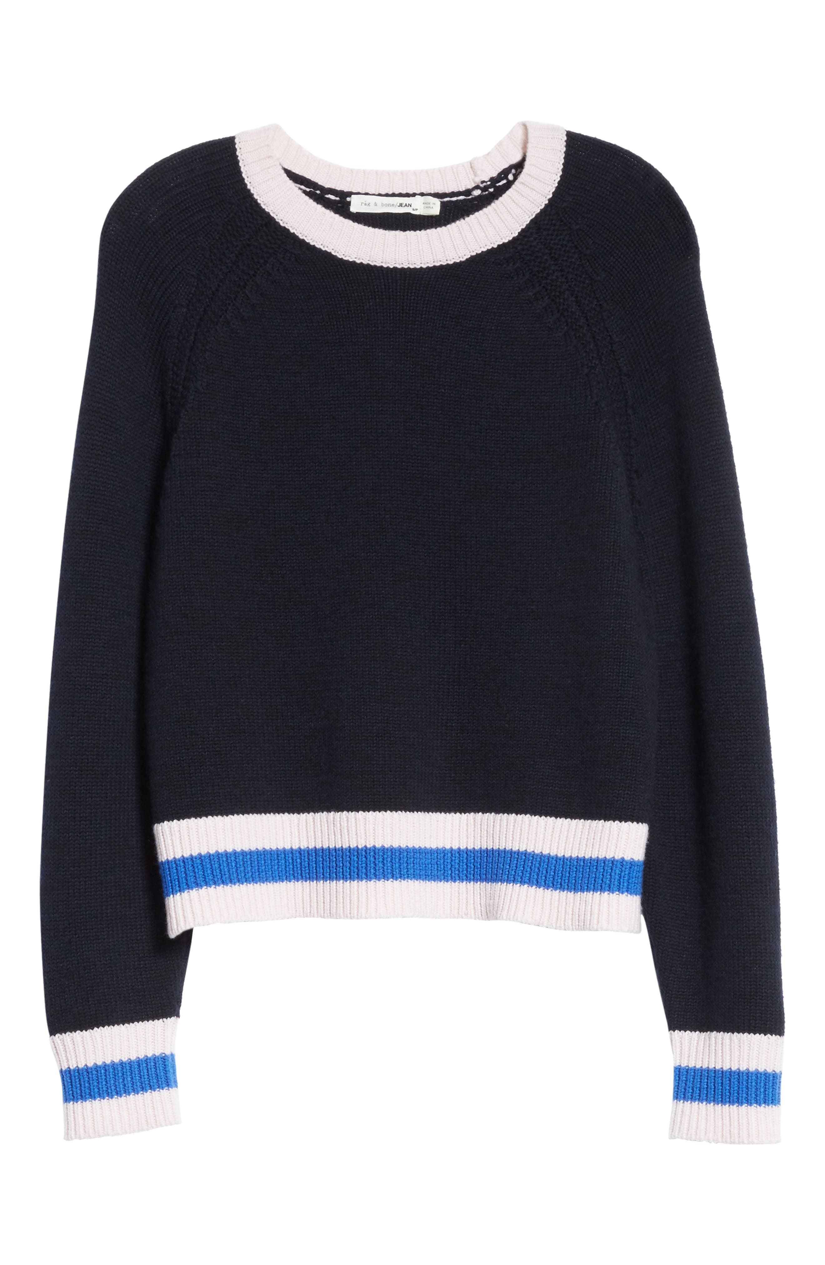 Hattie Crewneck Merino Wool Sweater,                             Alternate thumbnail 6, color,                             Navy