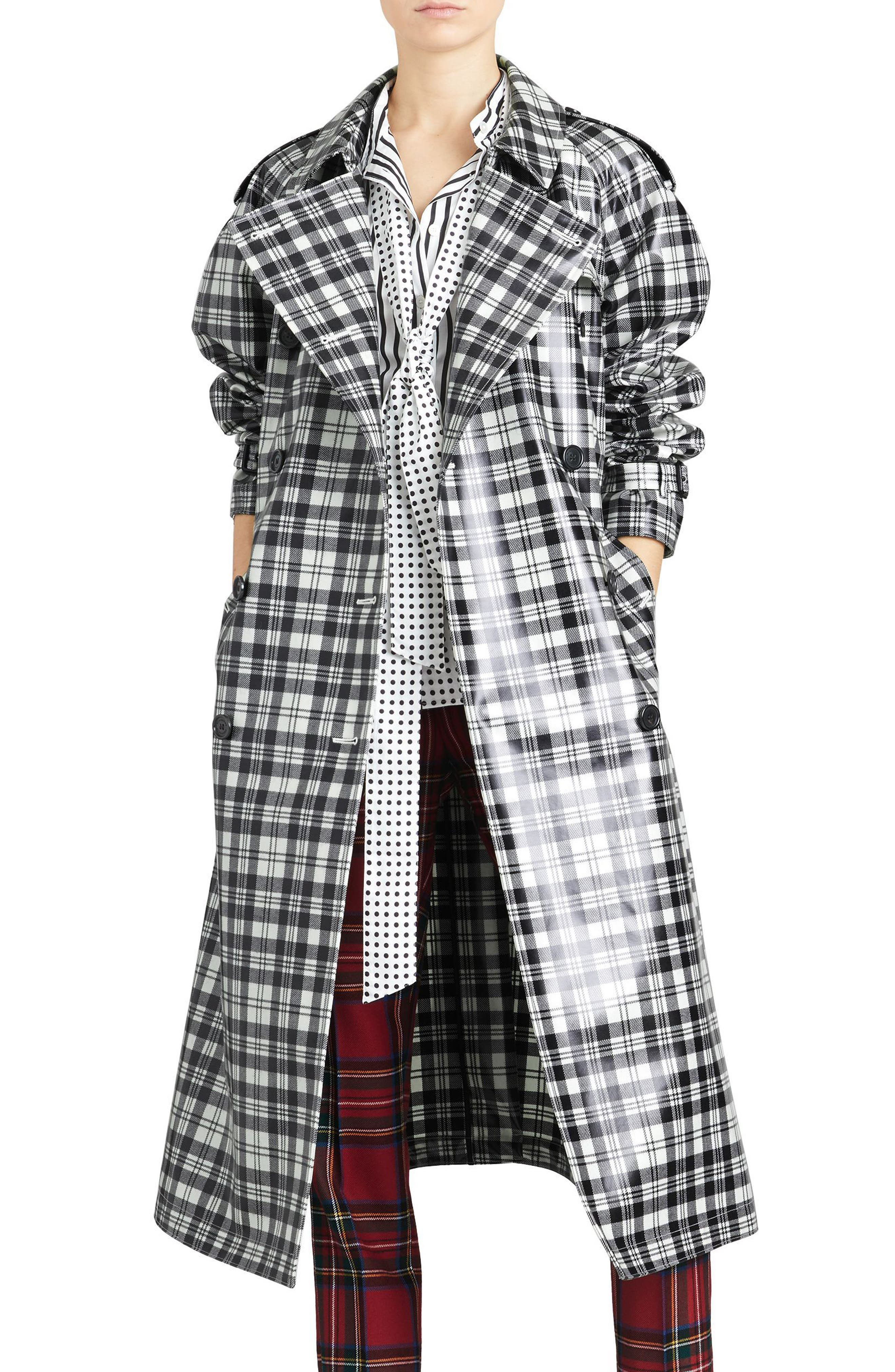 Eastheath Plaid Coated Wool Trench Coat,                             Main thumbnail 1, color,                             Black/ White