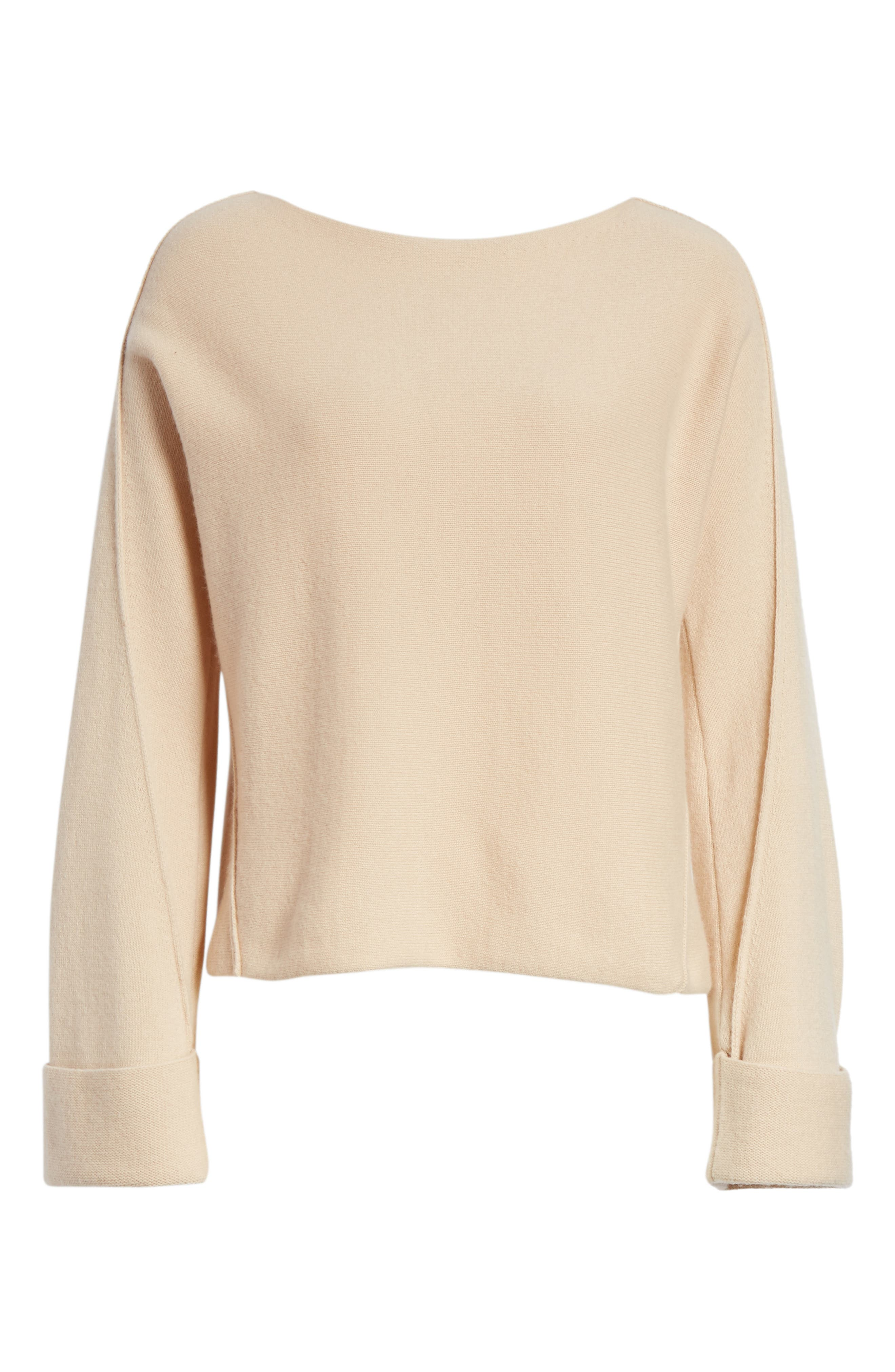 Cuffed Sleeve Wool & Cashmere Sweater,                             Alternate thumbnail 6, color,                             Praline