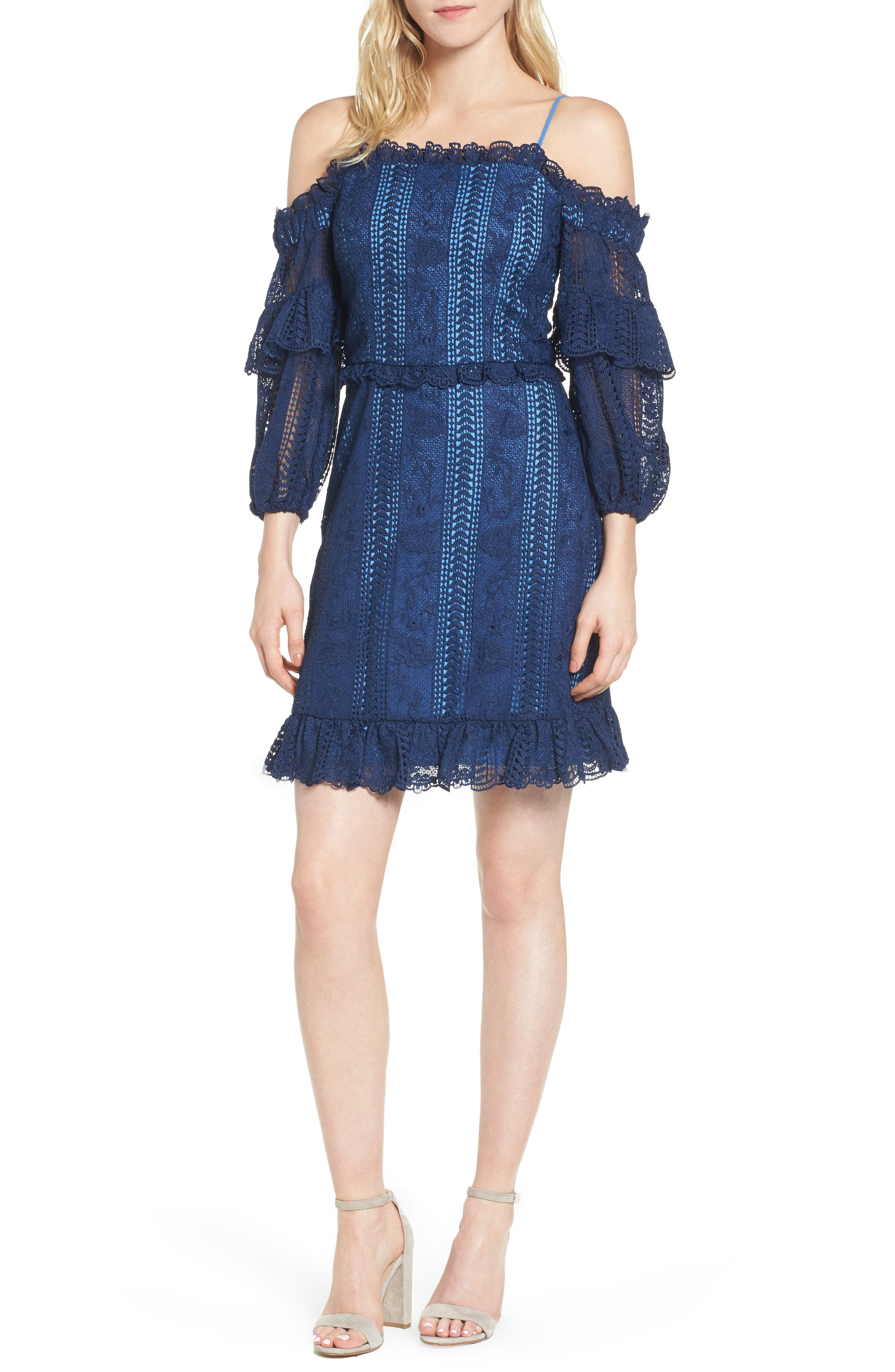 Irma Lace Off the Shoulder Dress,                             Main thumbnail 1, color,                             Night