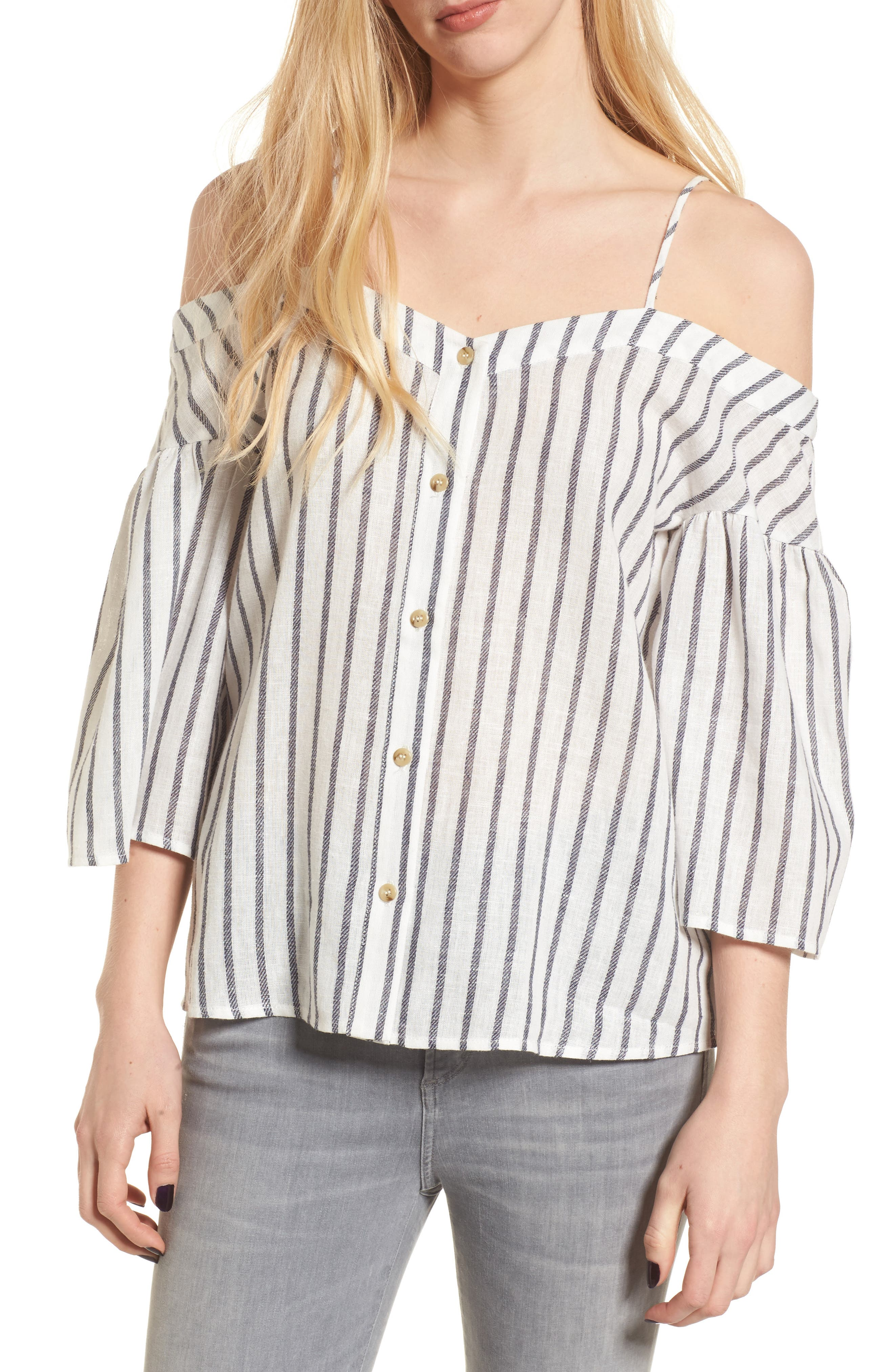 BP. Stripe Off the Shoulder Top