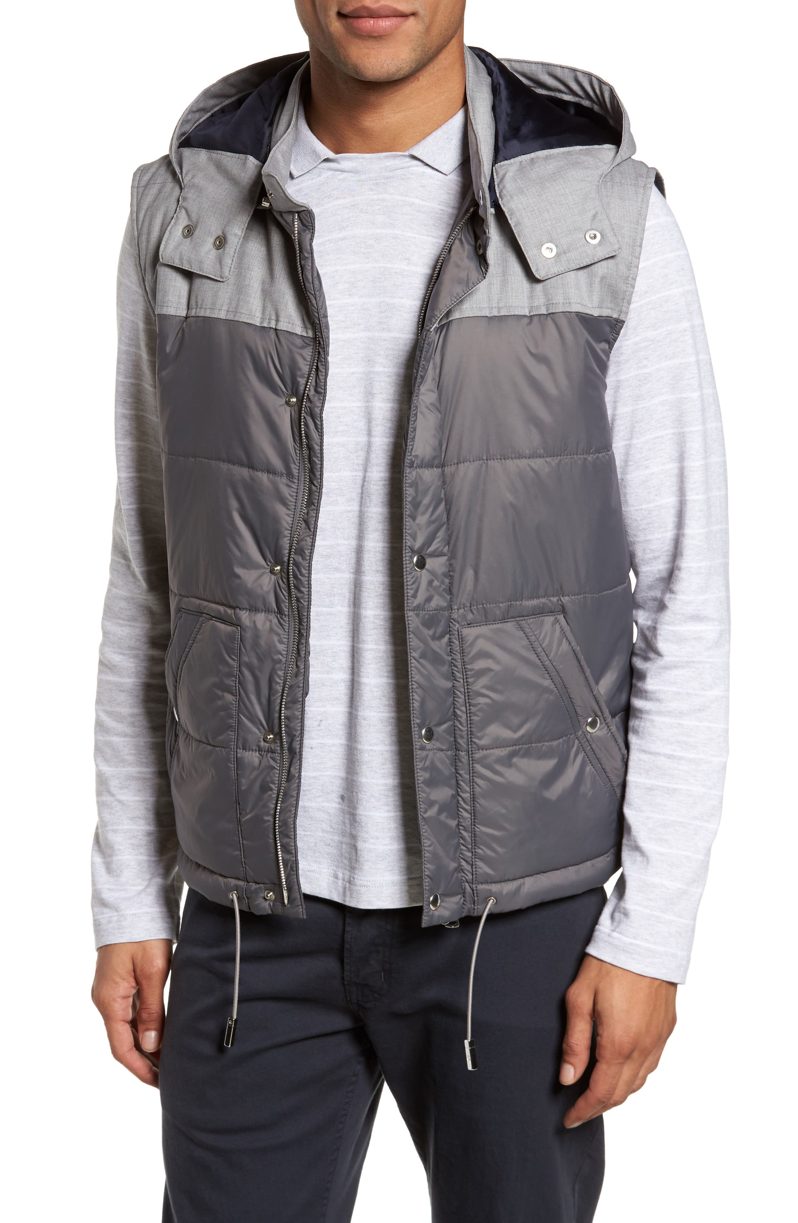 Mixed Media Quilted Vest,                         Main,                         color, Grey