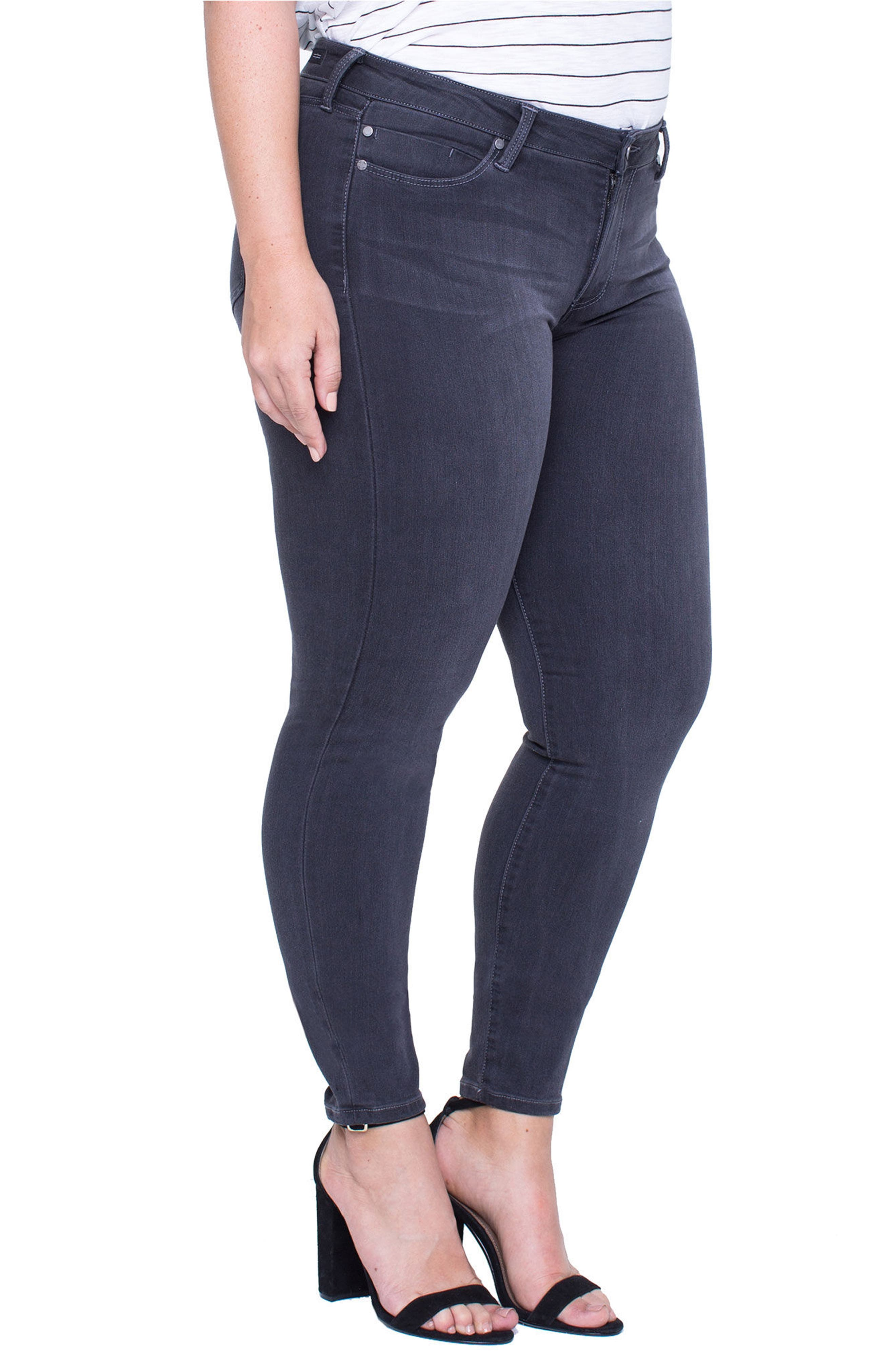 Abby Stretch Skinny Jeans,                             Alternate thumbnail 4, color,                             Meteorite