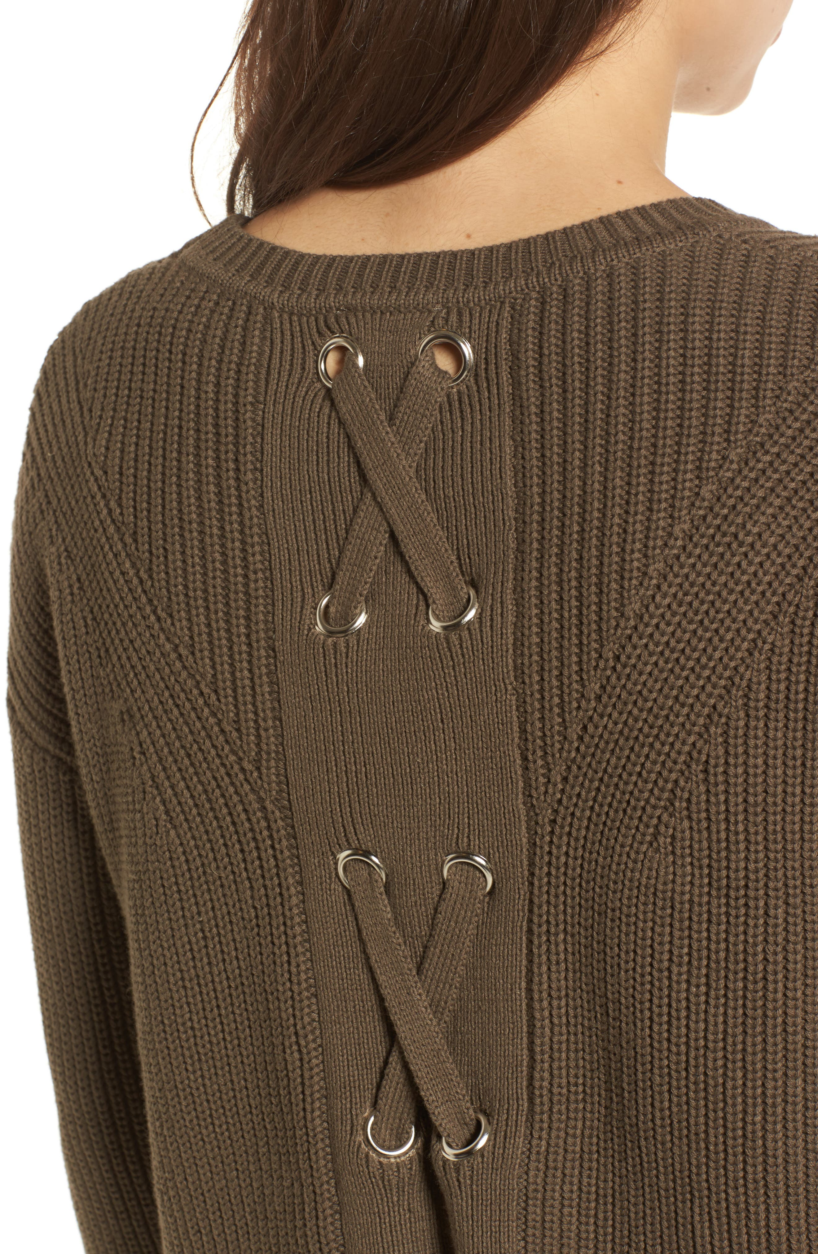 Alternate Image 4  - Lucky Brand Lace-Up Back Sweater