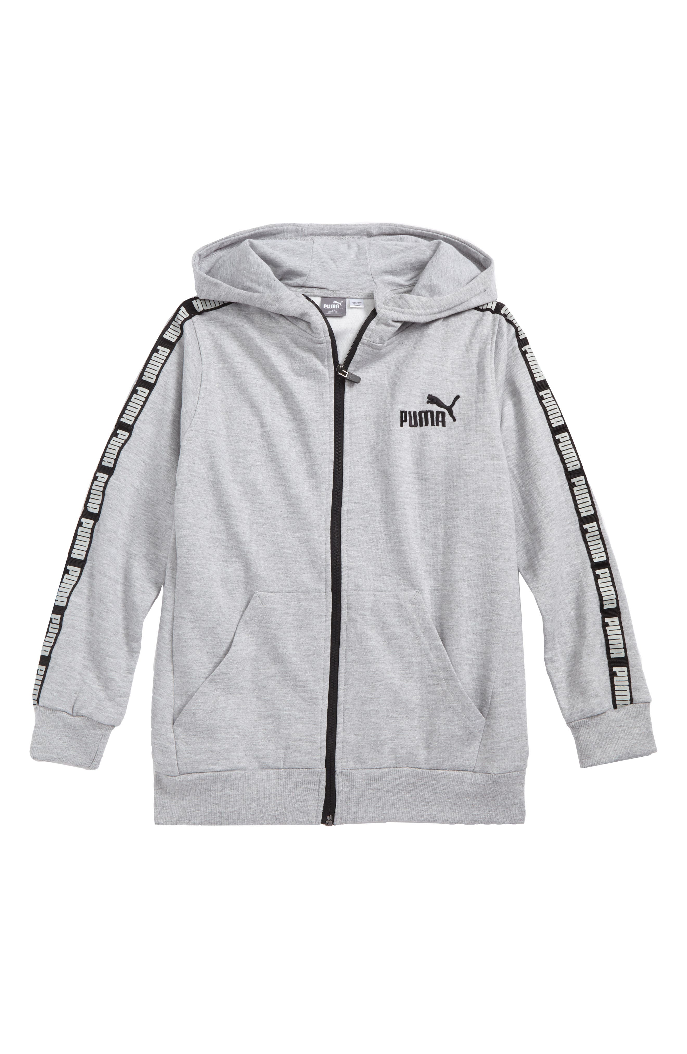 Graphic Zip Hoodie,                             Main thumbnail 1, color,                             Light Heather Grey