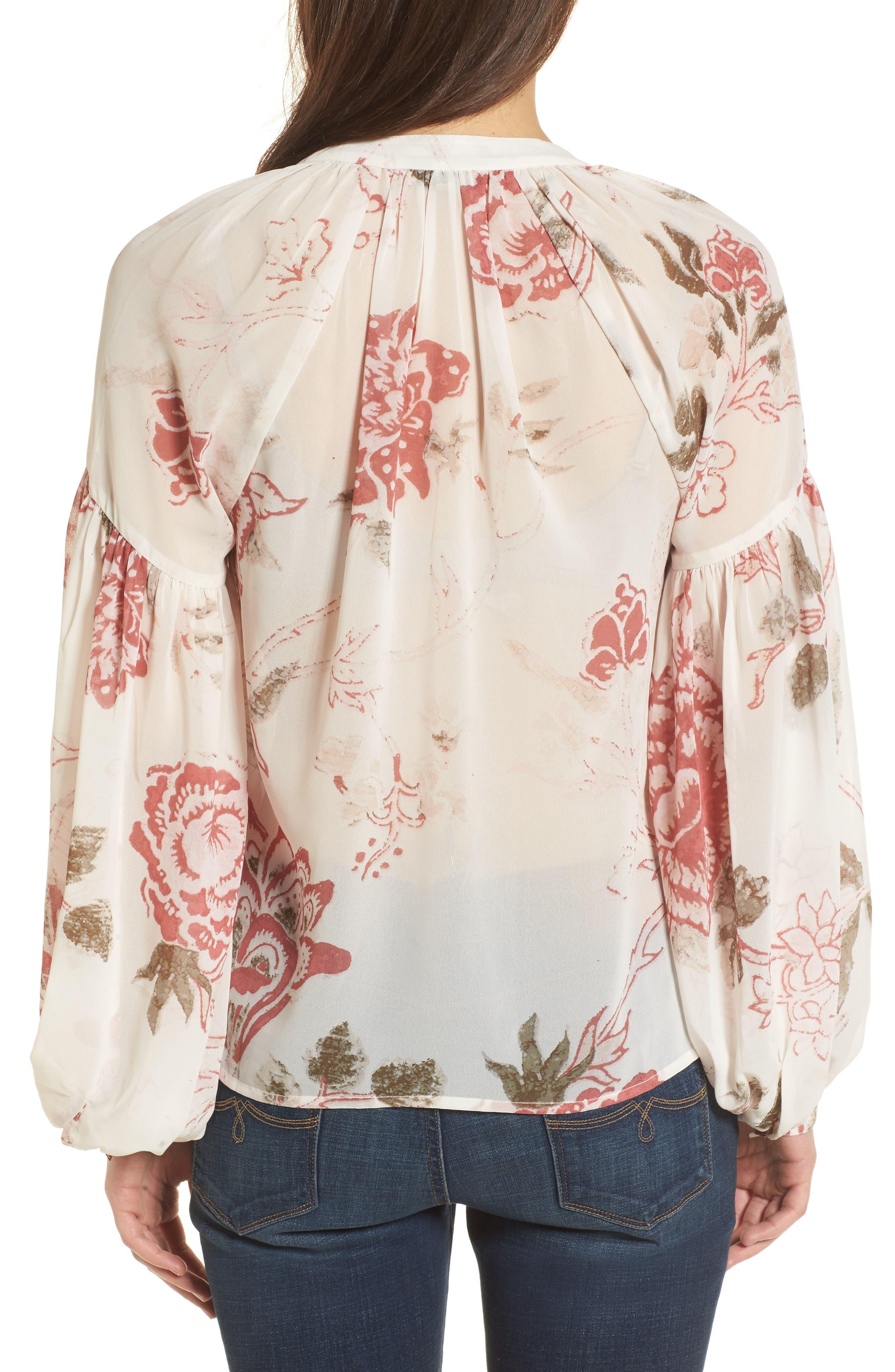 Alternate Image 2  - Lucky Brand Floral Print Ruffle Hem Blouse