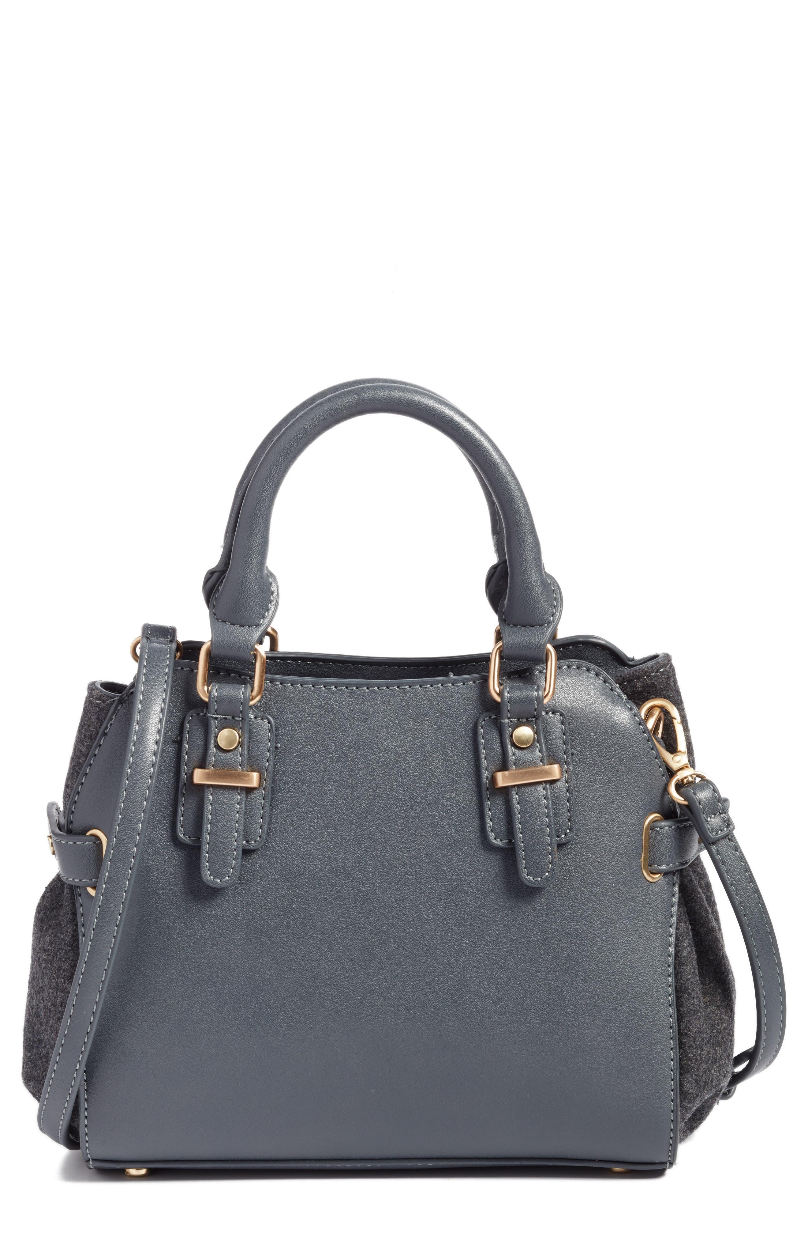 Faux Leather & Flannel Satchel,                             Main thumbnail 1, color,                             Black Grey Flannel