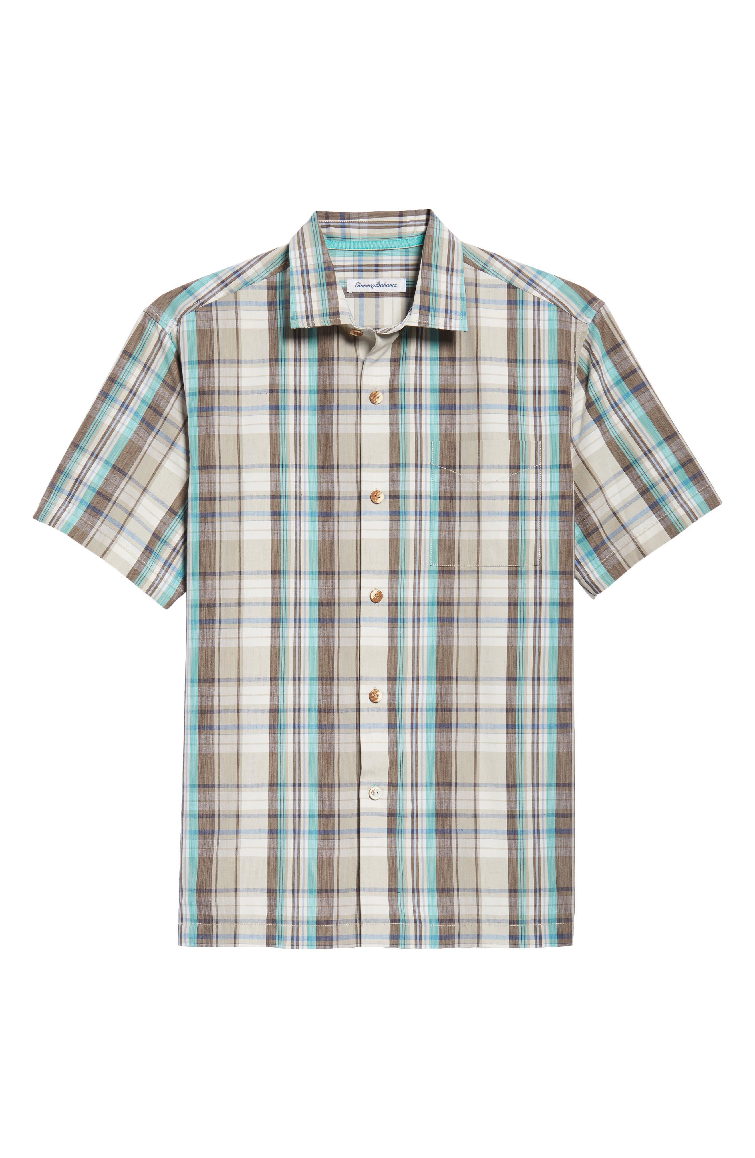 Royal Palm Plaid Sport Shirt,                             Alternate thumbnail 6, color,                             Twill