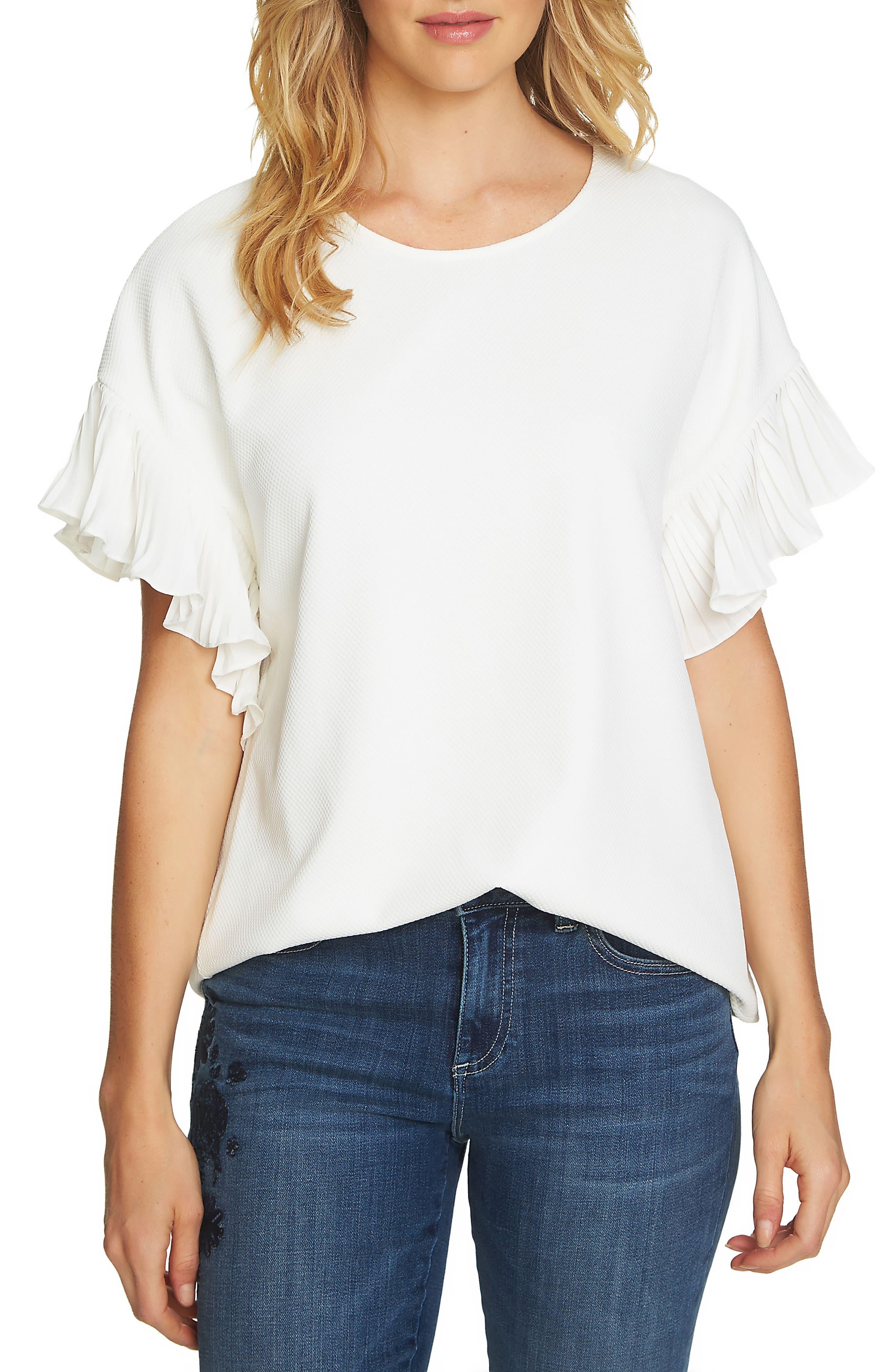 Honeycomb Knit Pleat Sleeve Shirt,                         Main,                         color, Antique White