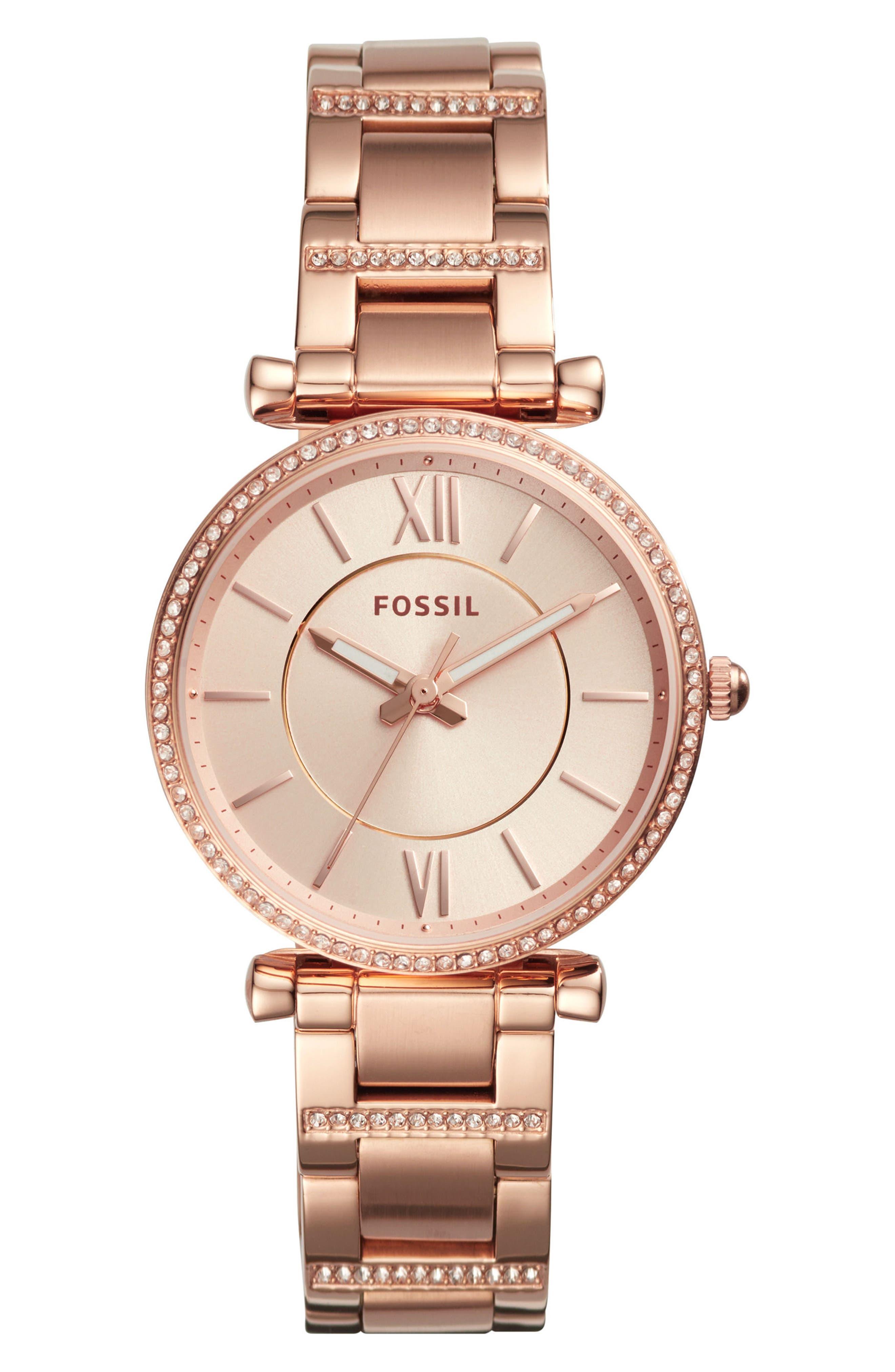 Main Image - Fossil Carlie T-Bar Crystal Bracelet Watch, 35mm