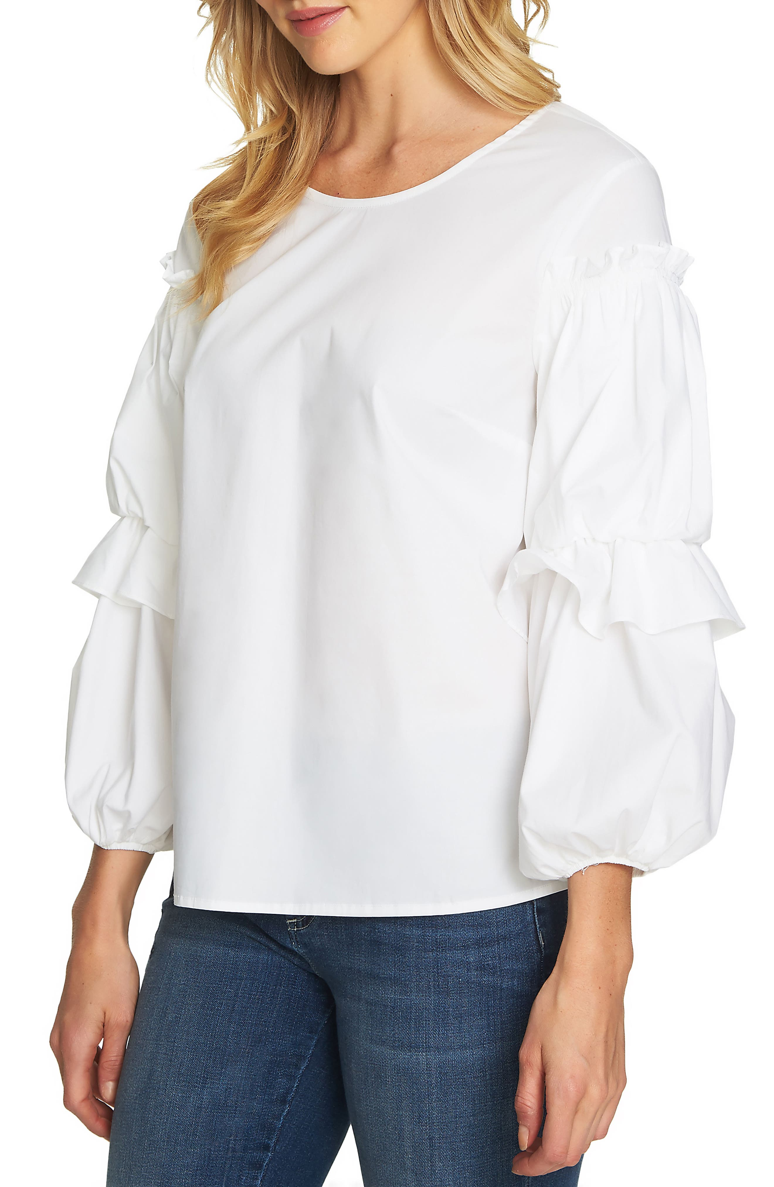 Balloon Sleeve Blouse,                             Main thumbnail 1, color,                             Ultra White