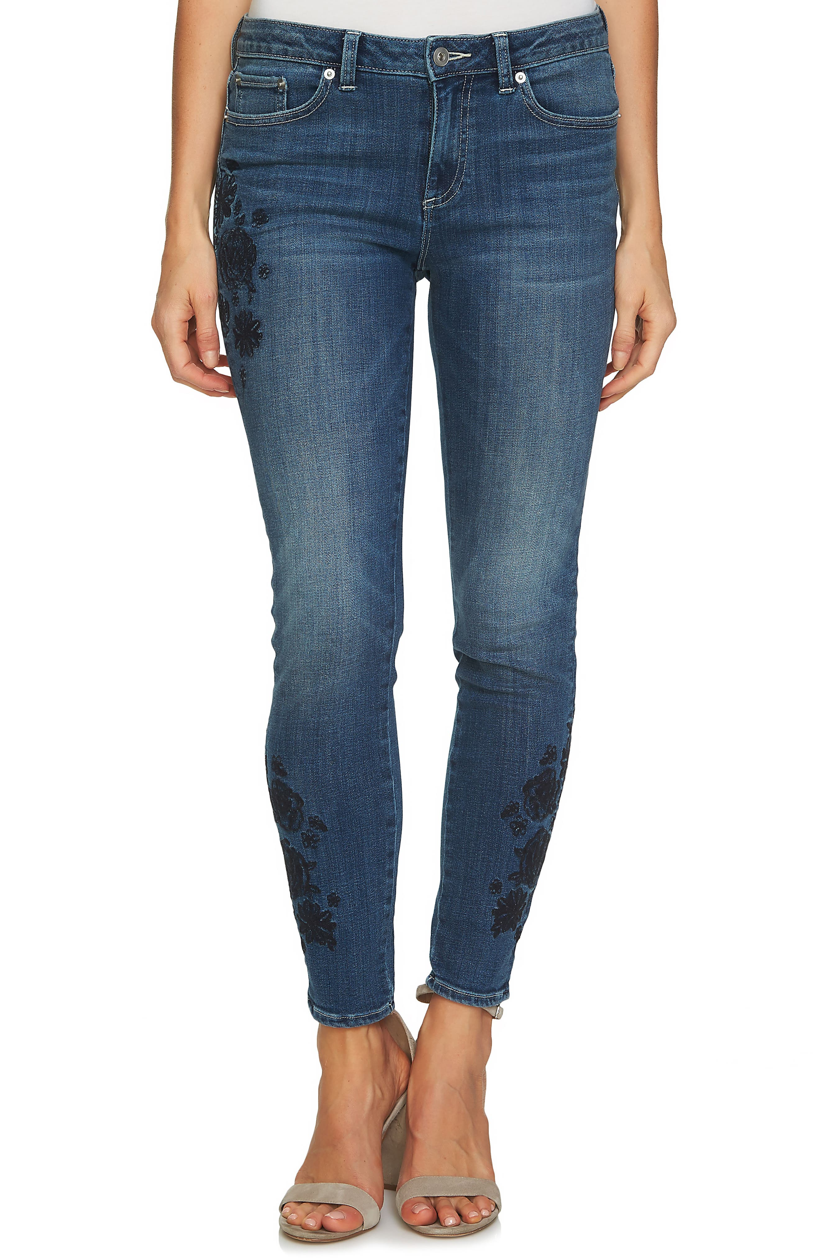CeCe Floral Embroidered Skinny Jeans (True Blue)