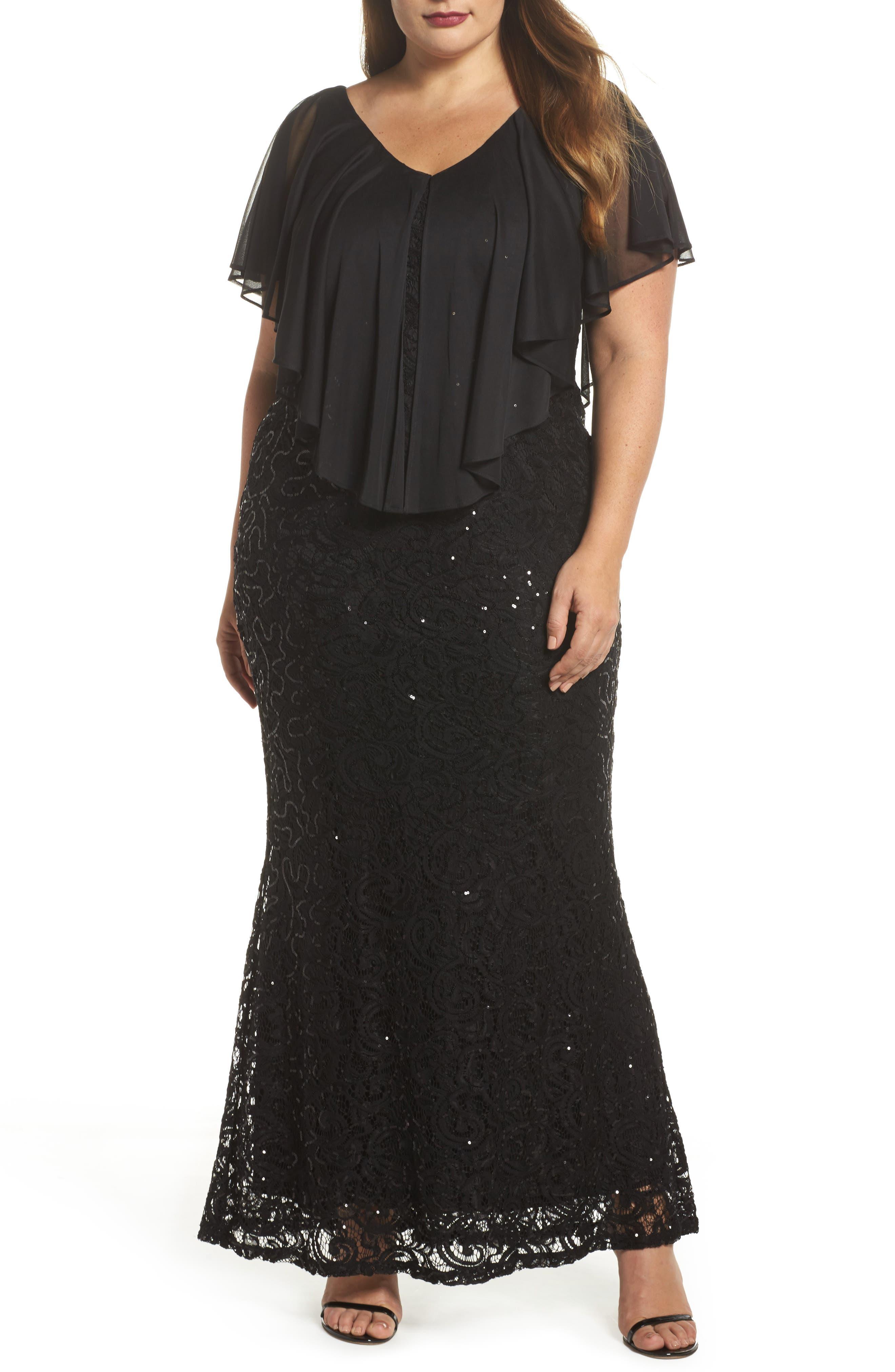 Capelet Sequin Lace A-Line Gown,                             Main thumbnail 1, color,                             Black