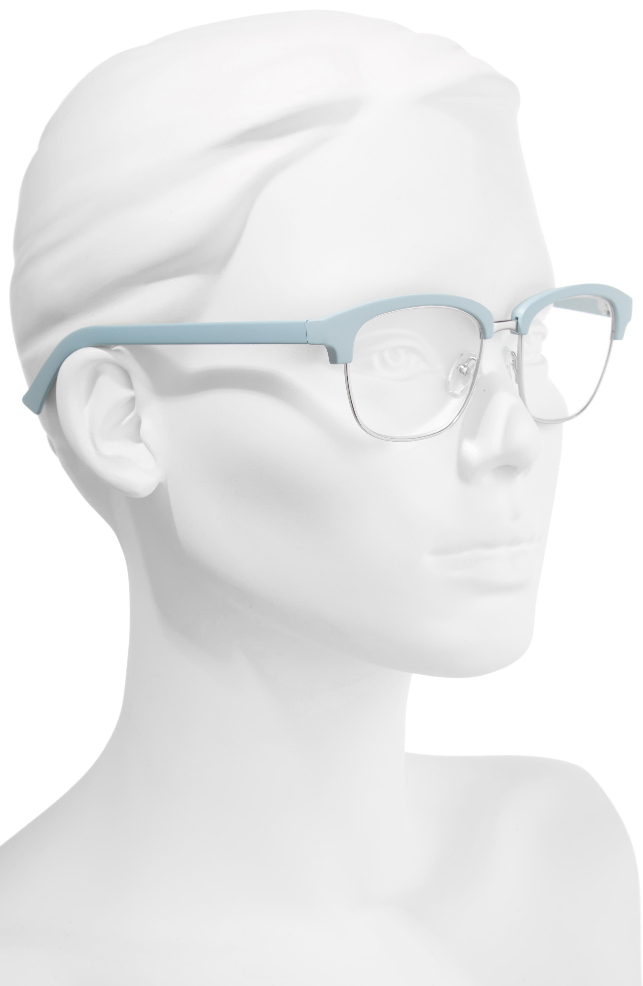 One Drew Over the English Test 52mm Reading Glasses,                             Alternate thumbnail 2, color,                             Sky/ Silver