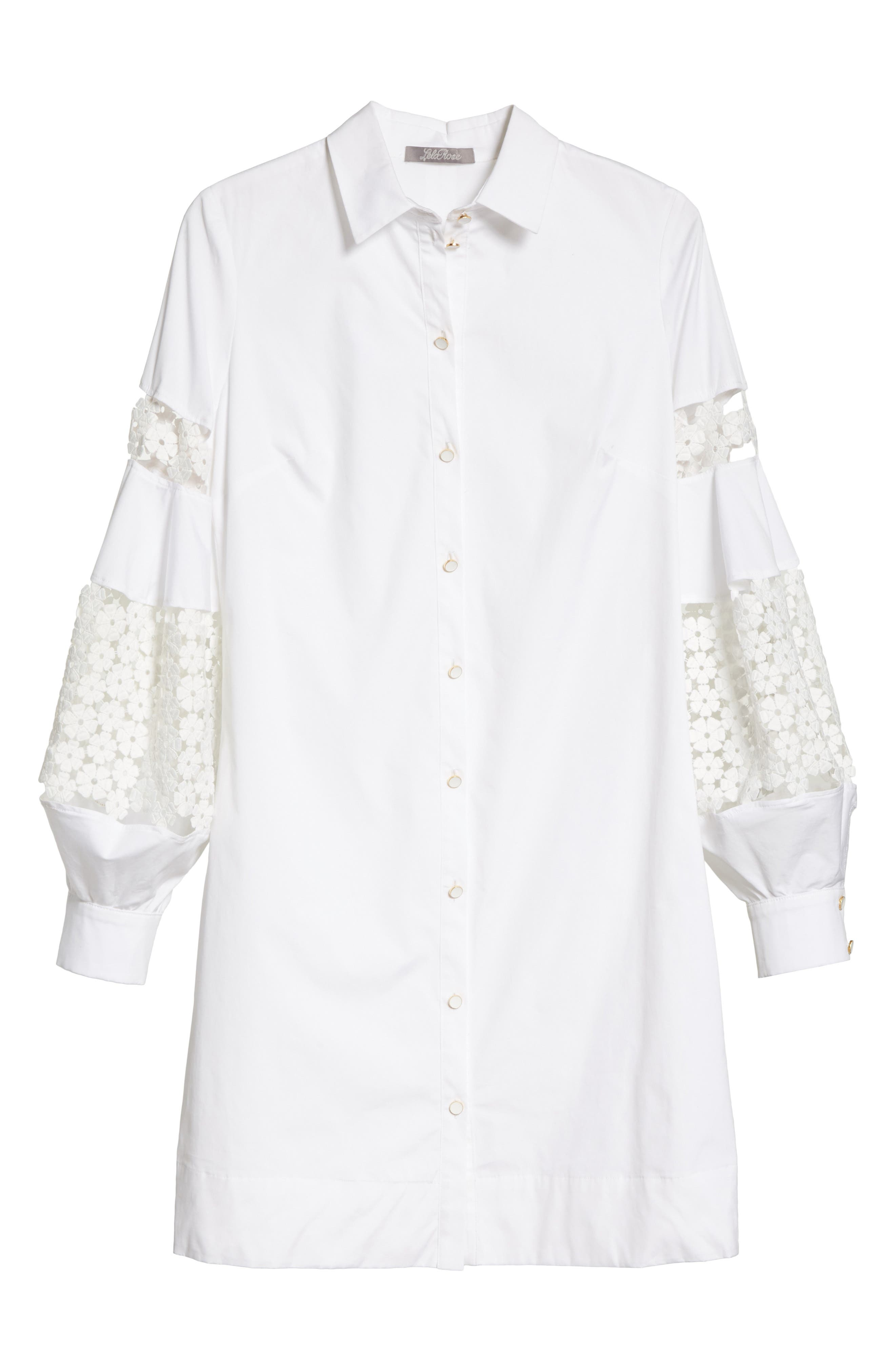 Lace Inset Puff Sleeve Shirtdress,                             Alternate thumbnail 7, color,                             White