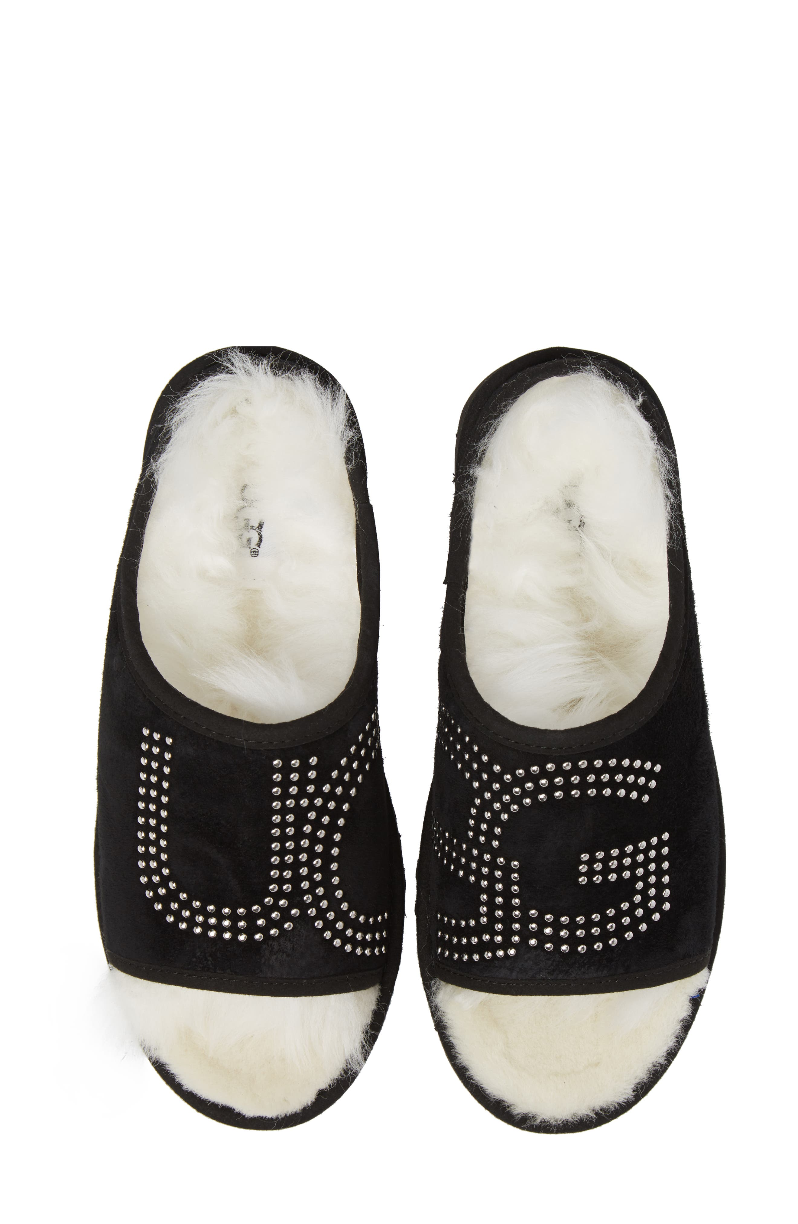 Logo Stud Slide Slipper,                             Alternate thumbnail 5, color,                             Black Suede