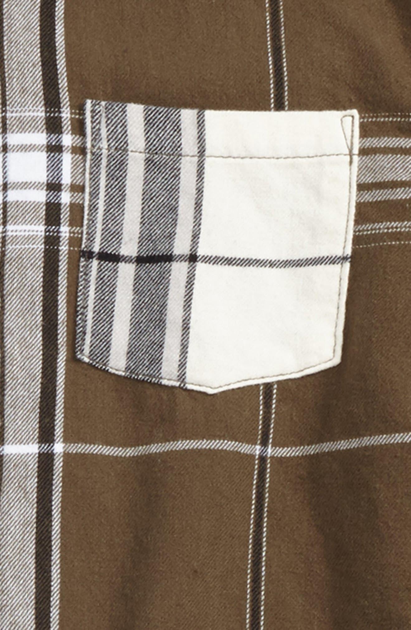 Raw Edge Flannel Shirt,                             Alternate thumbnail 2, color,                             Natural/ Olive Split Plaid