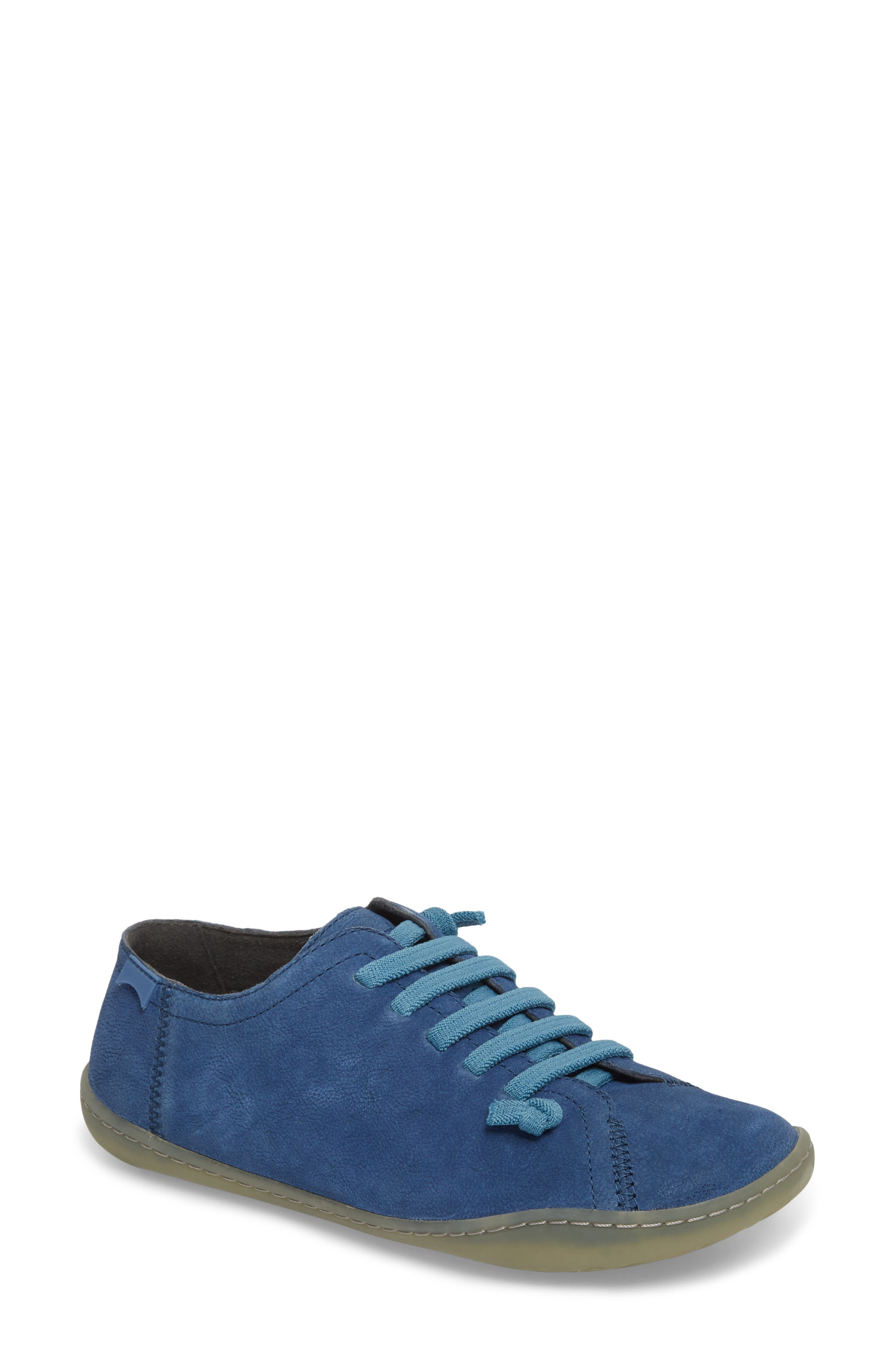'Peu Cami' Leather Sneaker,                             Main thumbnail 1, color,                             Medium Blue Suede