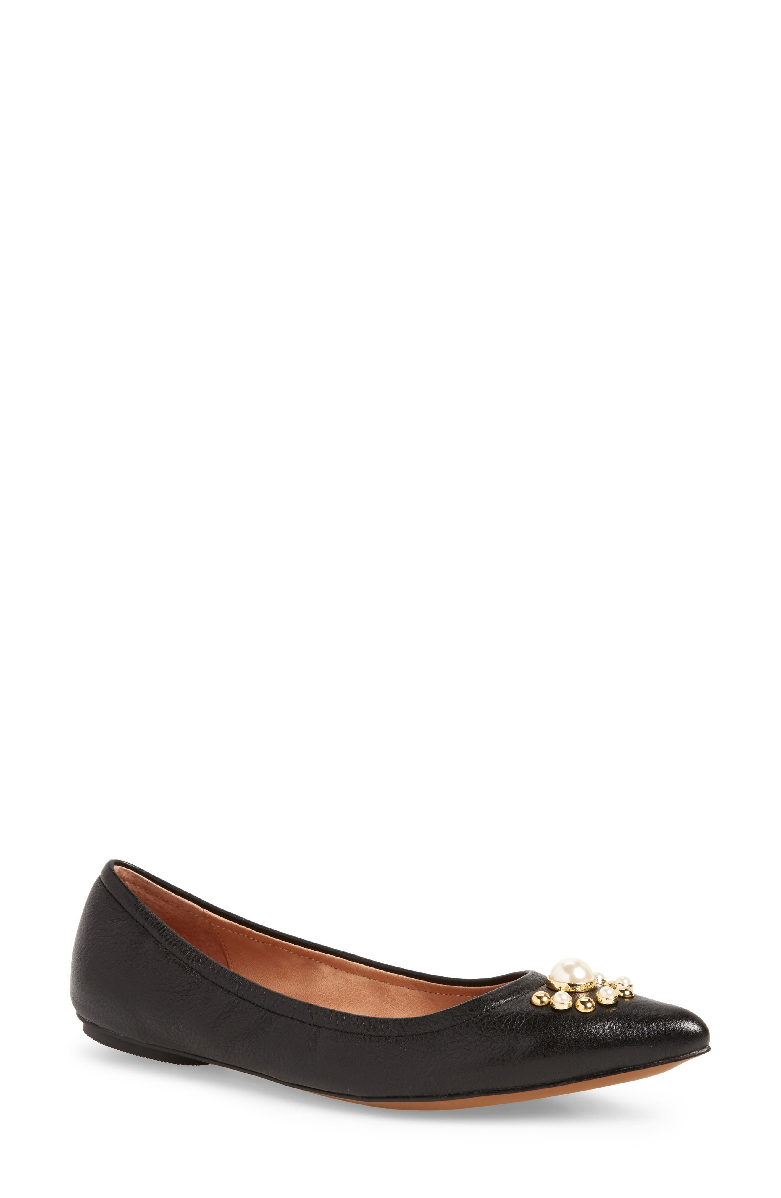 Linea Paolo Nadia Embellished Pointy Toe Flat (Women)