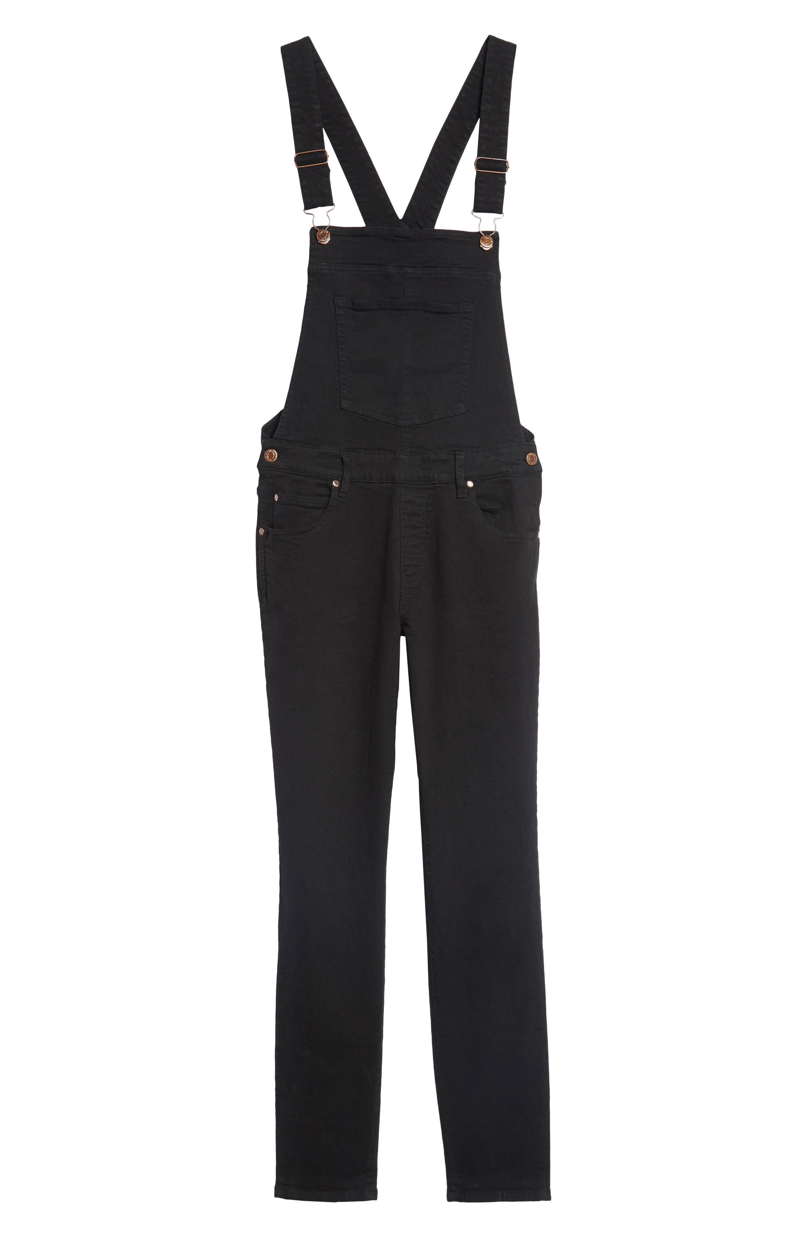 Ira Skinny Fit Overalls,                             Alternate thumbnail 6, color,                             Black