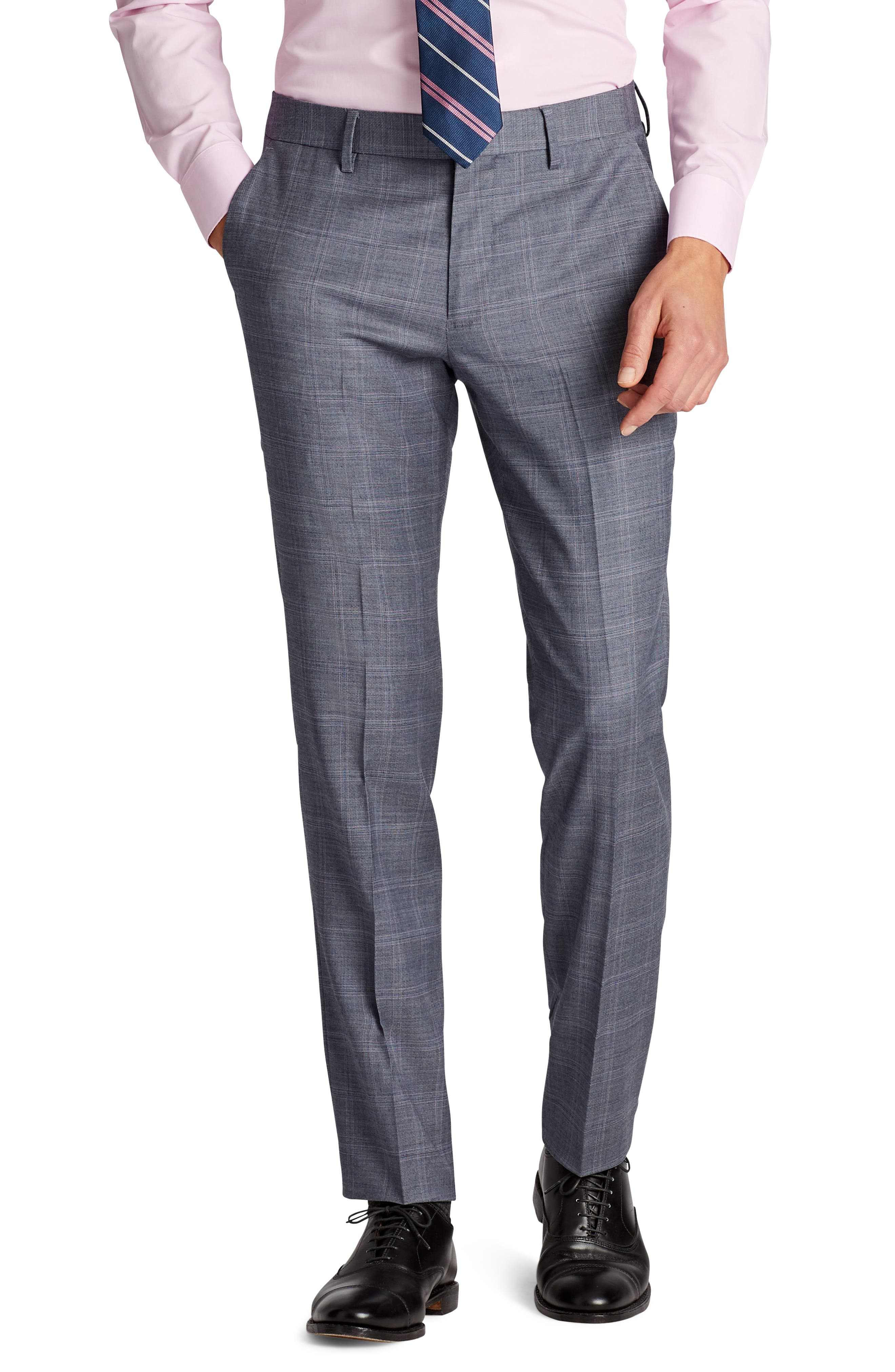 Jetsetter Flat Front Stretch Plaid Wool Trousers,                         Main,                         color, Grey Plaid