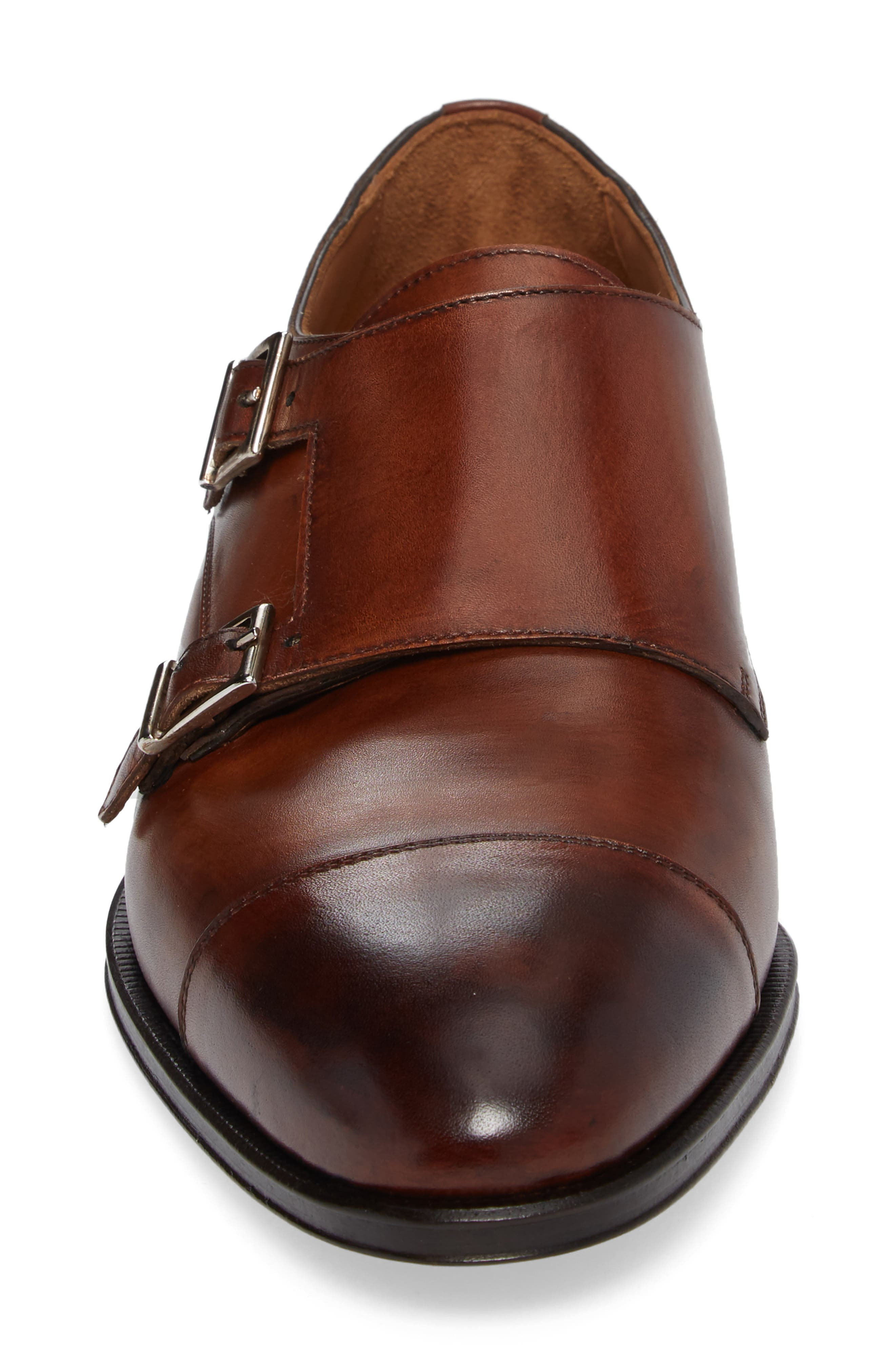 Gallo Bianco Double Monk Strap Shoe,                             Alternate thumbnail 4, color,                             Marble Brown