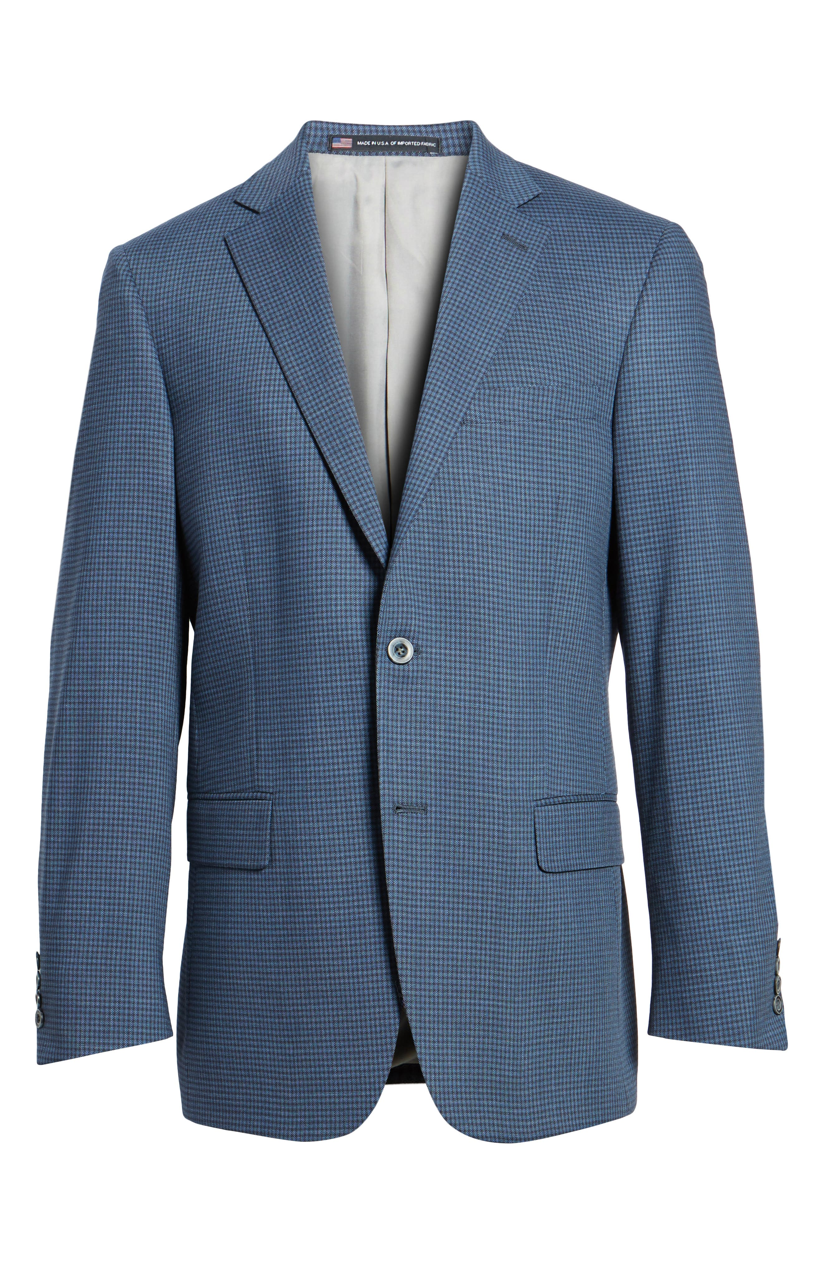 Classic Fit Stretch Check Wool Sport Coat,                             Alternate thumbnail 6, color,                             Navy