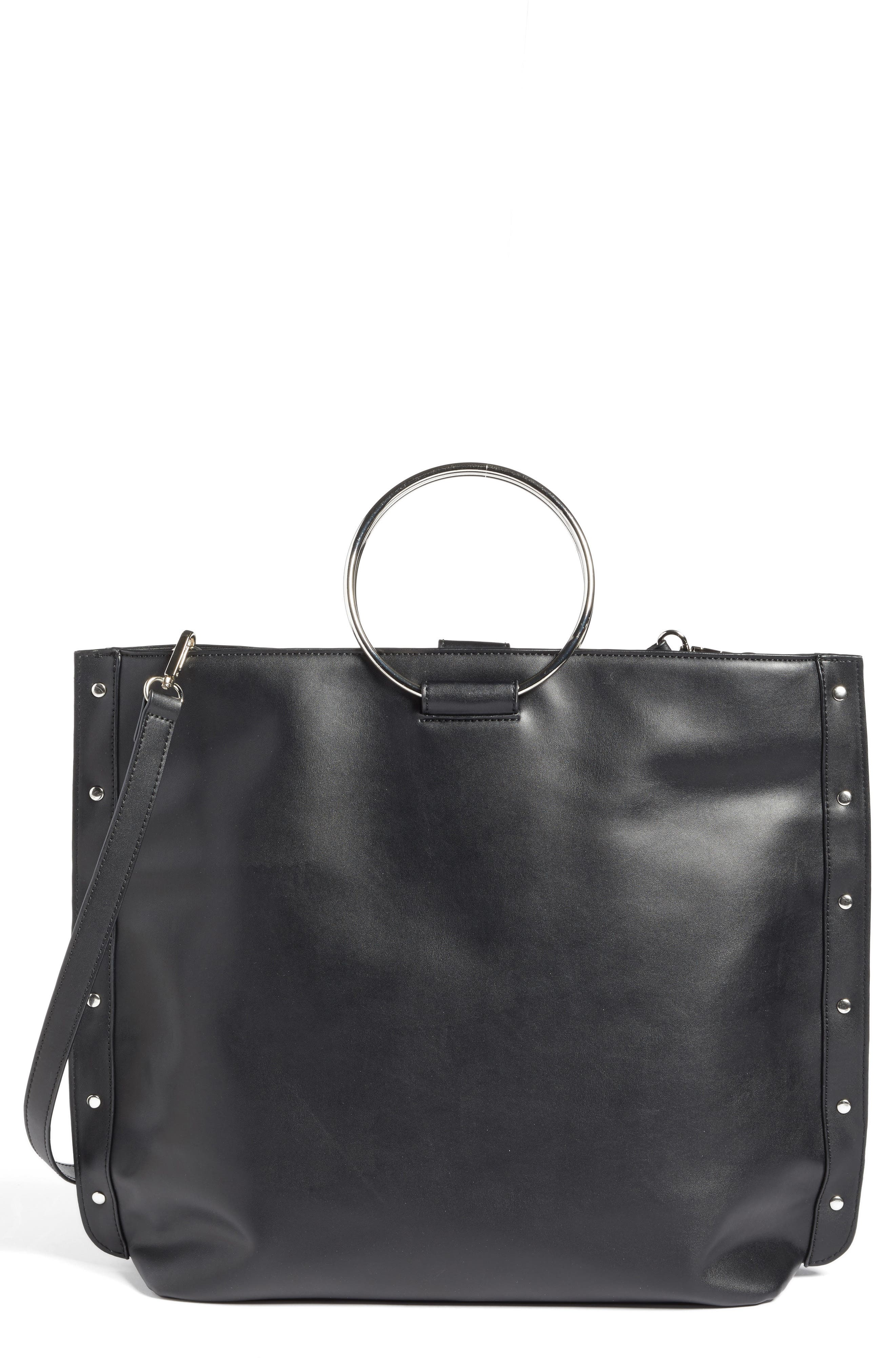 Ring Handle Faux Leather Tote,                             Main thumbnail 1, color,                             Black