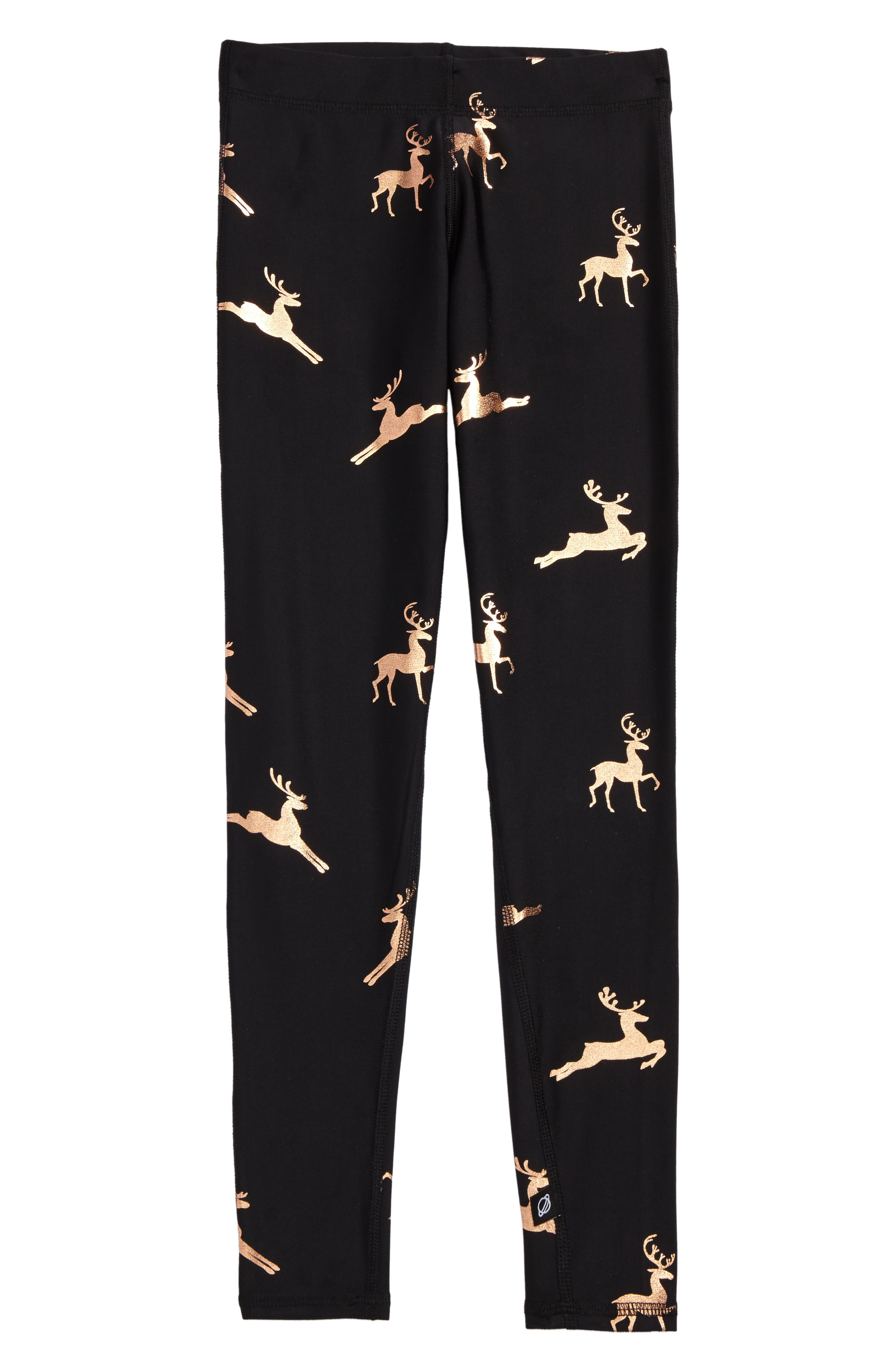 Foil Print Leggings,                             Main thumbnail 1, color,                             Rose Gold Reindeer