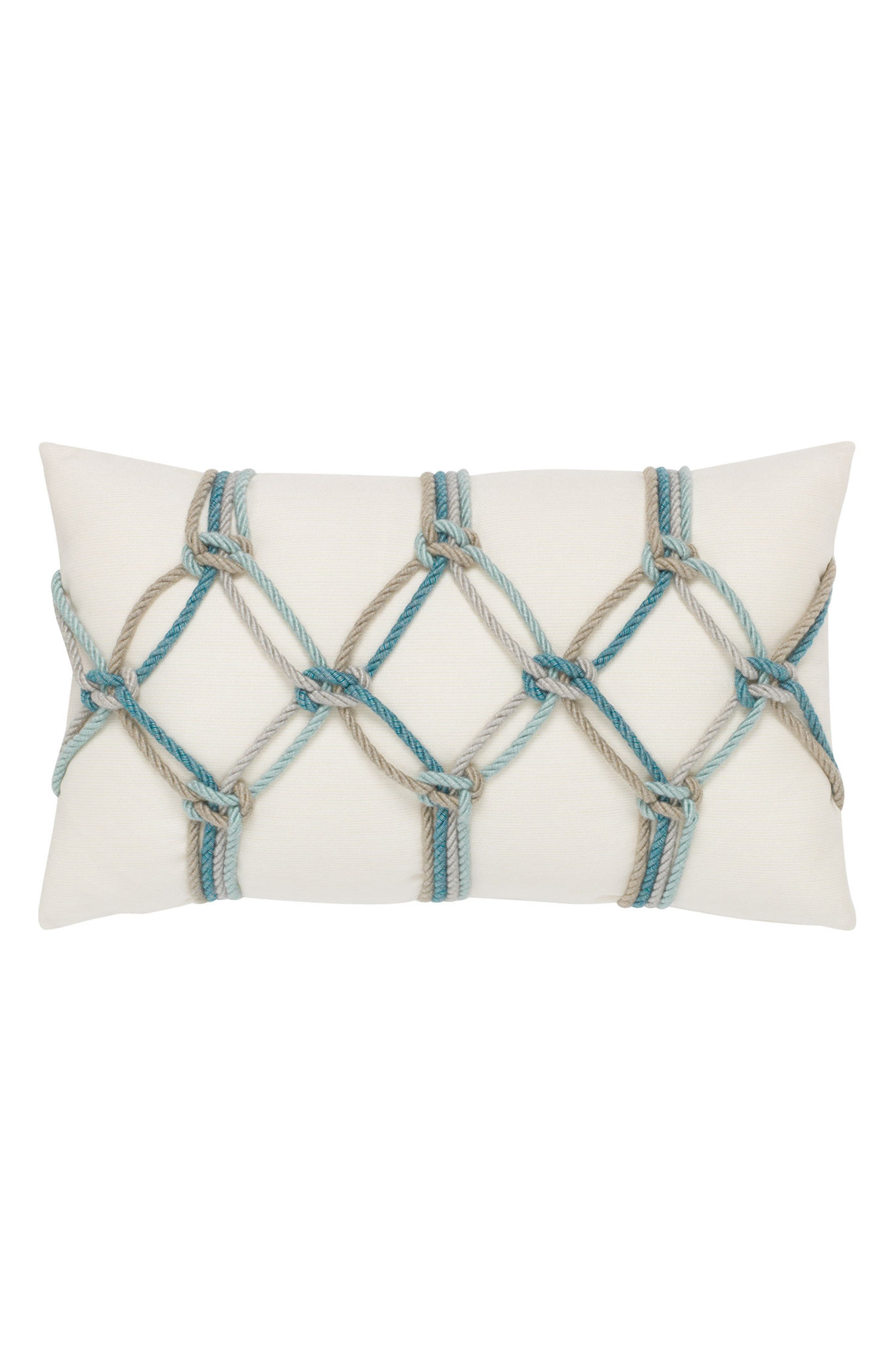 Aqua Rope Indoor/Outdoor Accent Pillow,                         Main,                         color, Off White Blue