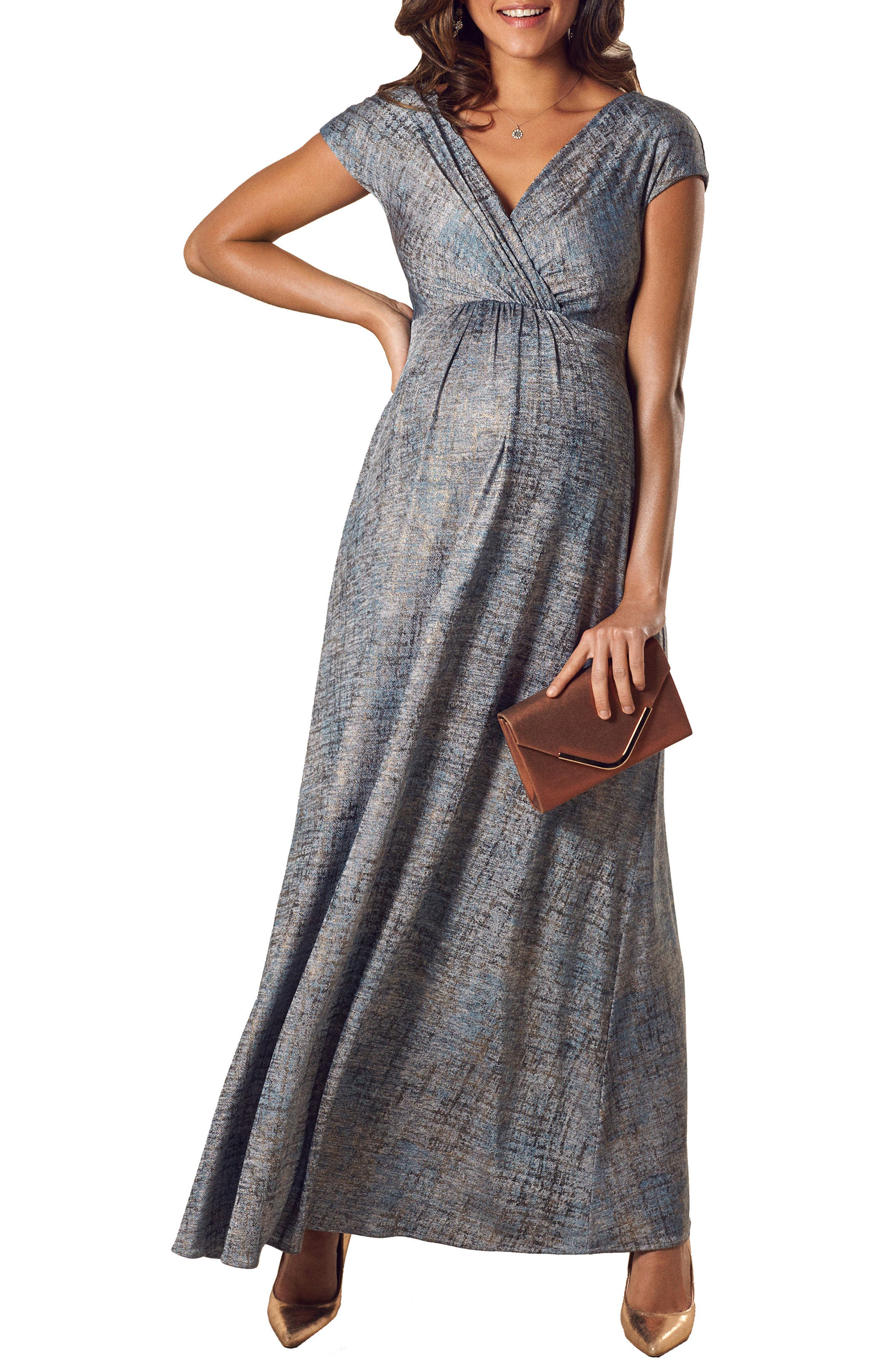 Francesca Maternity Gown,                         Main,                         color, Bronze Blue
