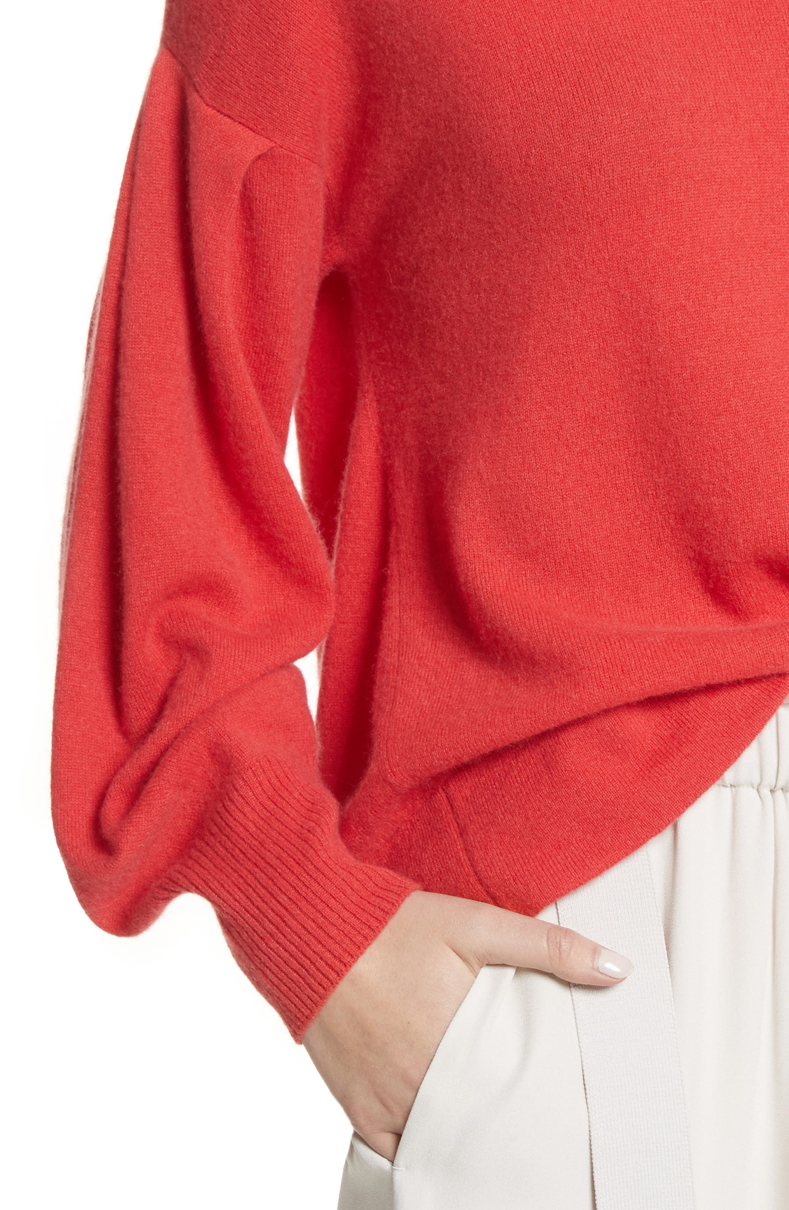 Pleat Sleeve Cashmere Sweater,                             Alternate thumbnail 5, color,                             Poppy