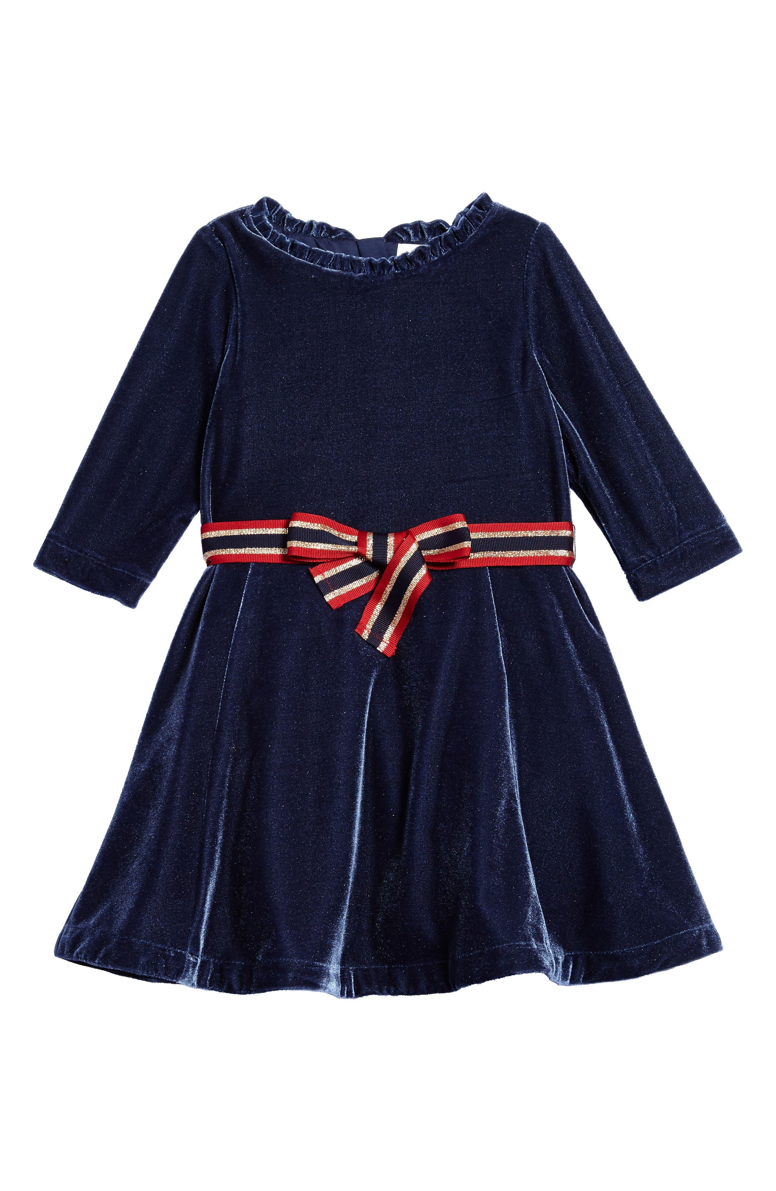 Mini Boden Velvet Skater Dress (Toddler Girls, Little Girls & Big Girls)