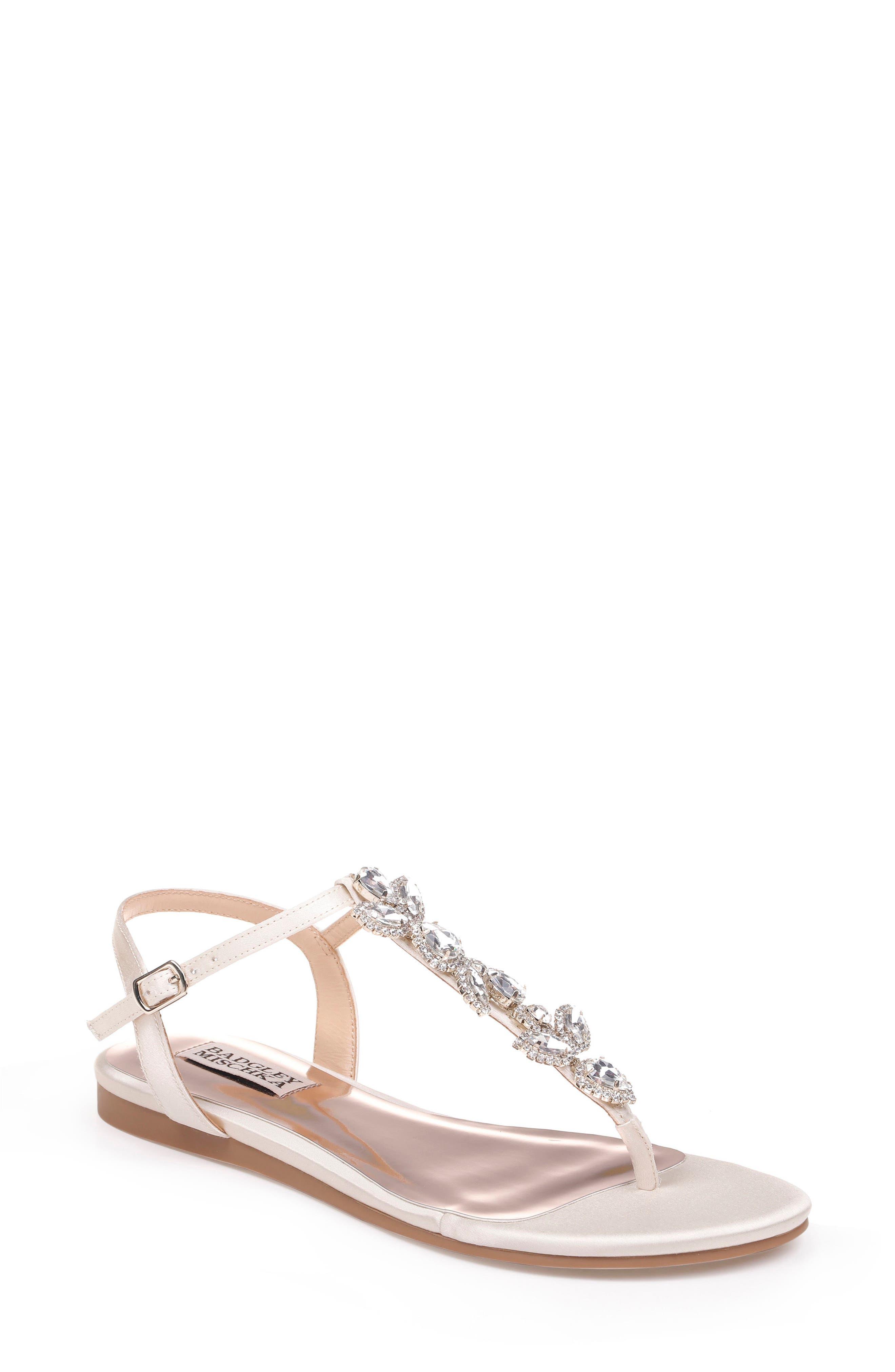 Sissi Crystal Embellished Sandal,                             Main thumbnail 1, color,                             Ivory Satin