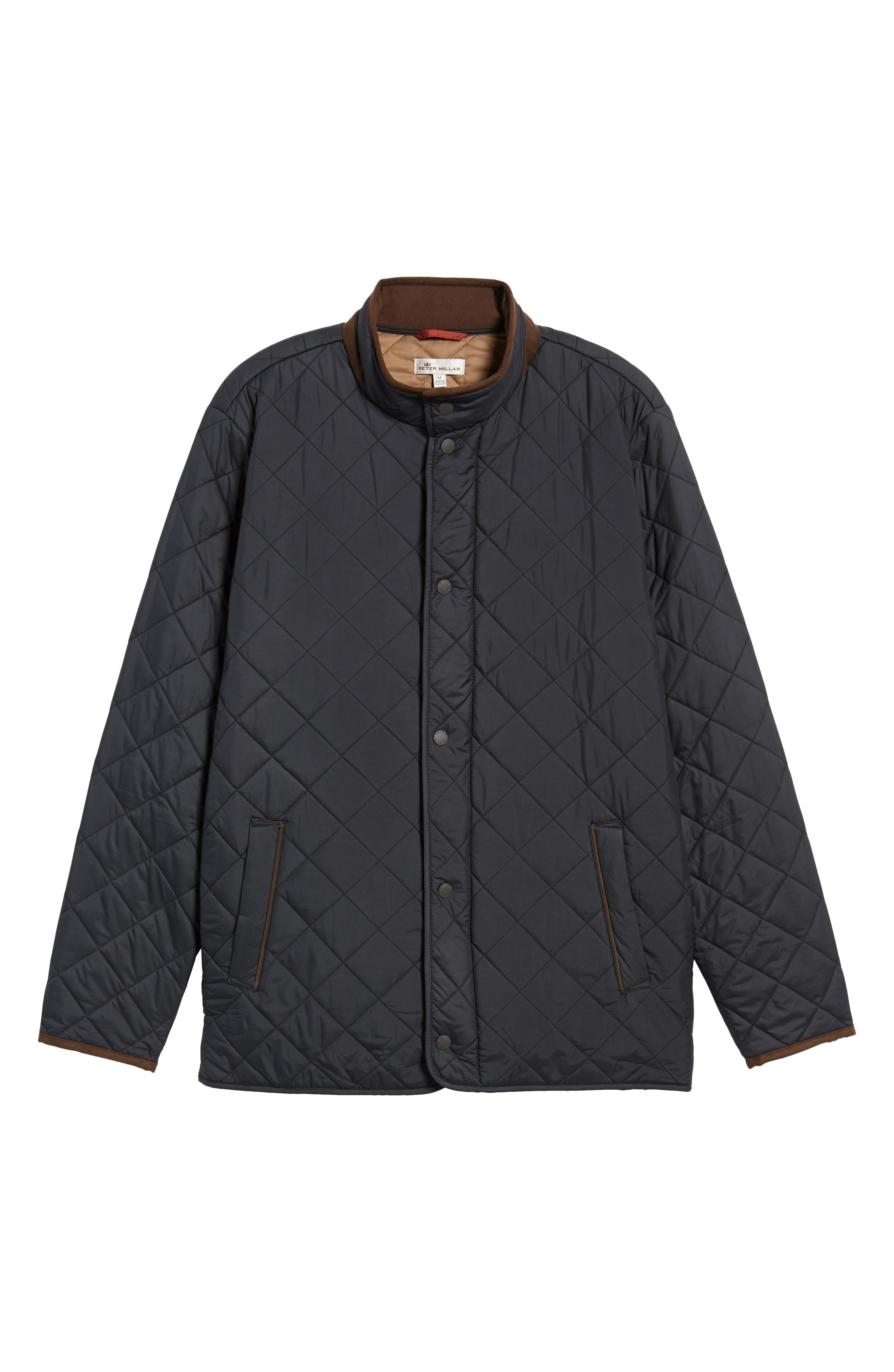 Suffolk Quilted Water-Resistant Car Coat,                             Alternate thumbnail 6, color,                             Black
