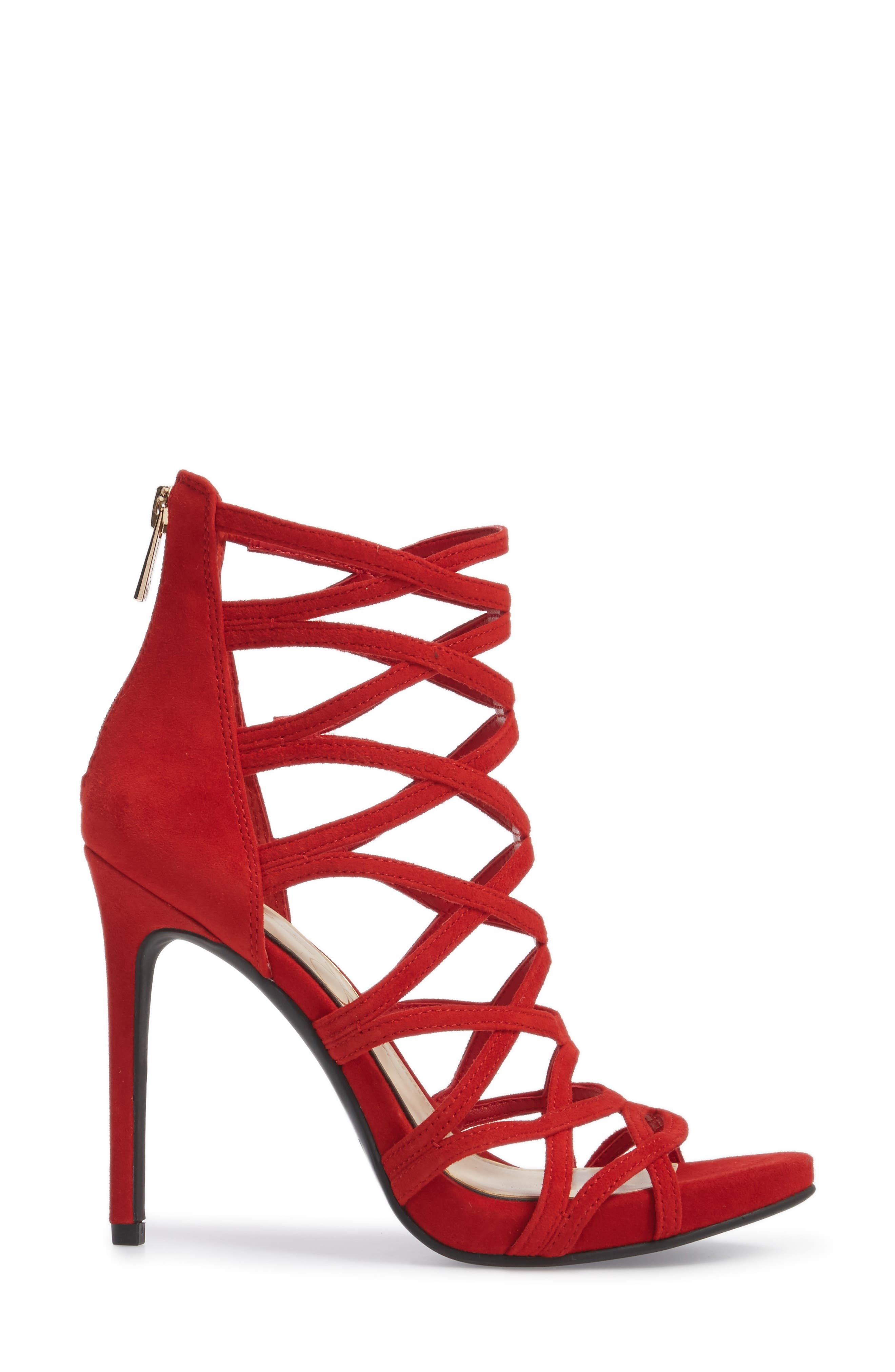 Razella Cage Sandal,                             Alternate thumbnail 3, color,                             Red Muse Suede