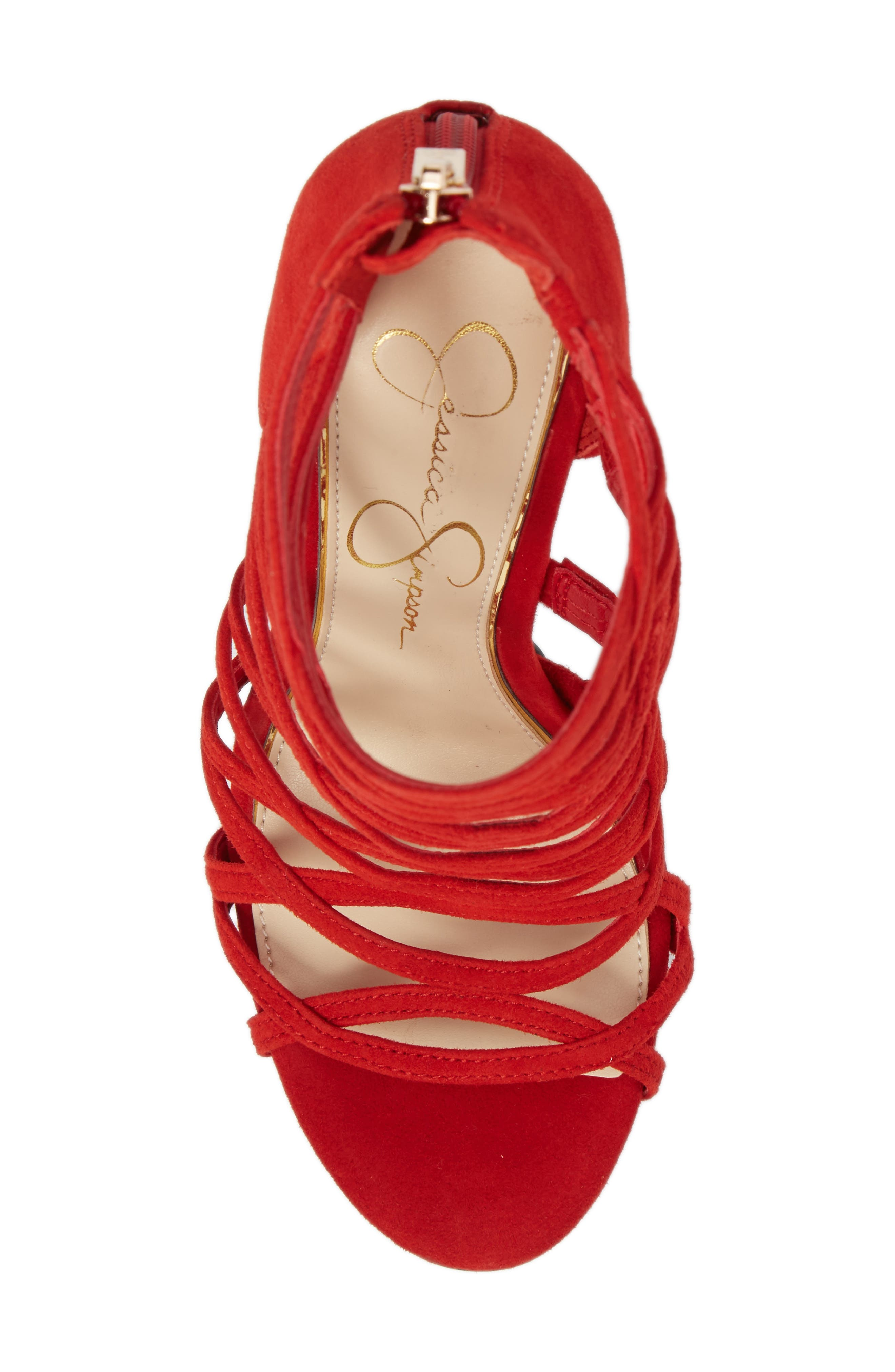 Razella Cage Sandal,                             Alternate thumbnail 5, color,                             Red Muse Suede