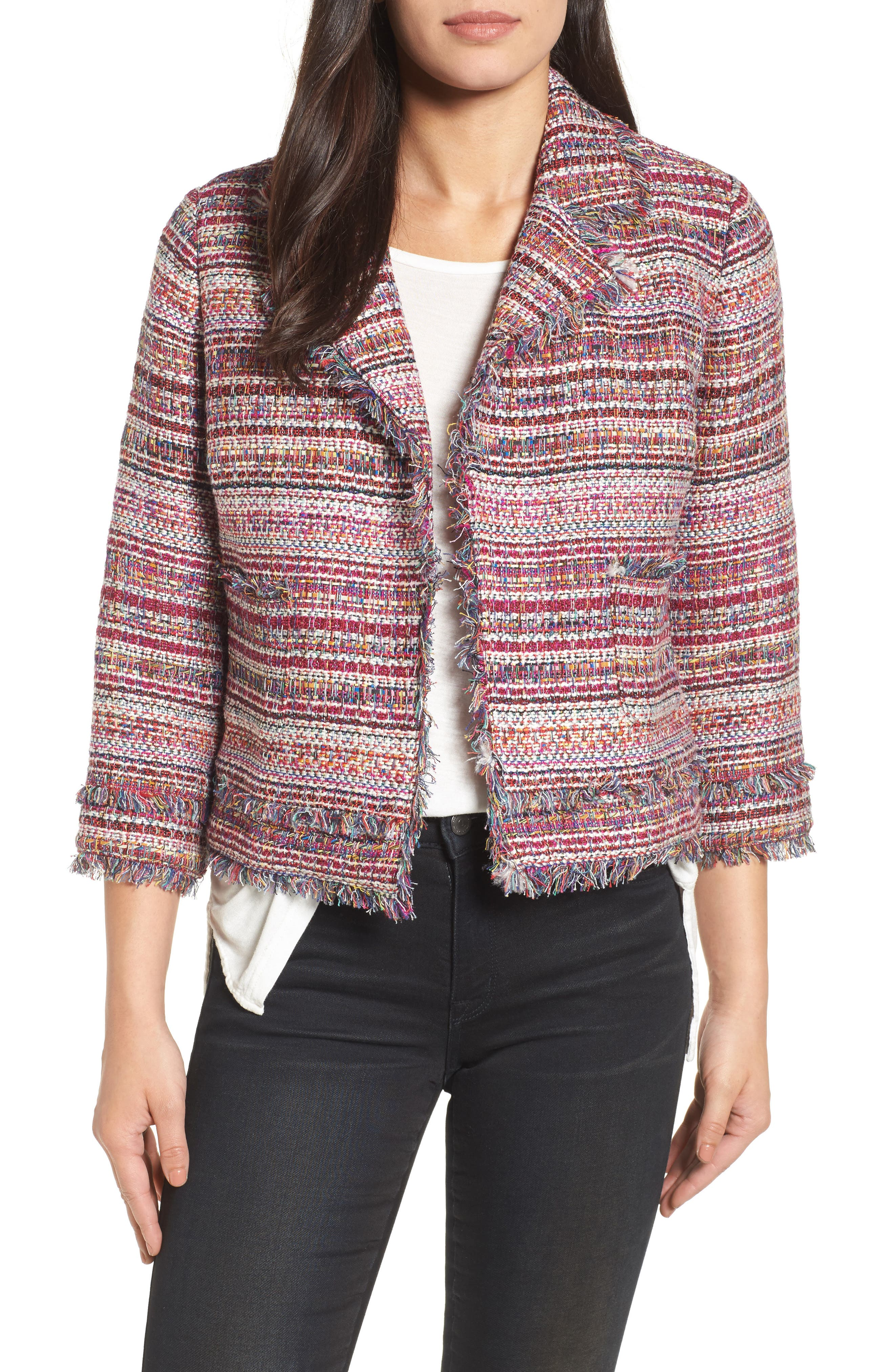 Tweed Open Front Jacket,                             Main thumbnail 1, color,                             Red Multi Tweed