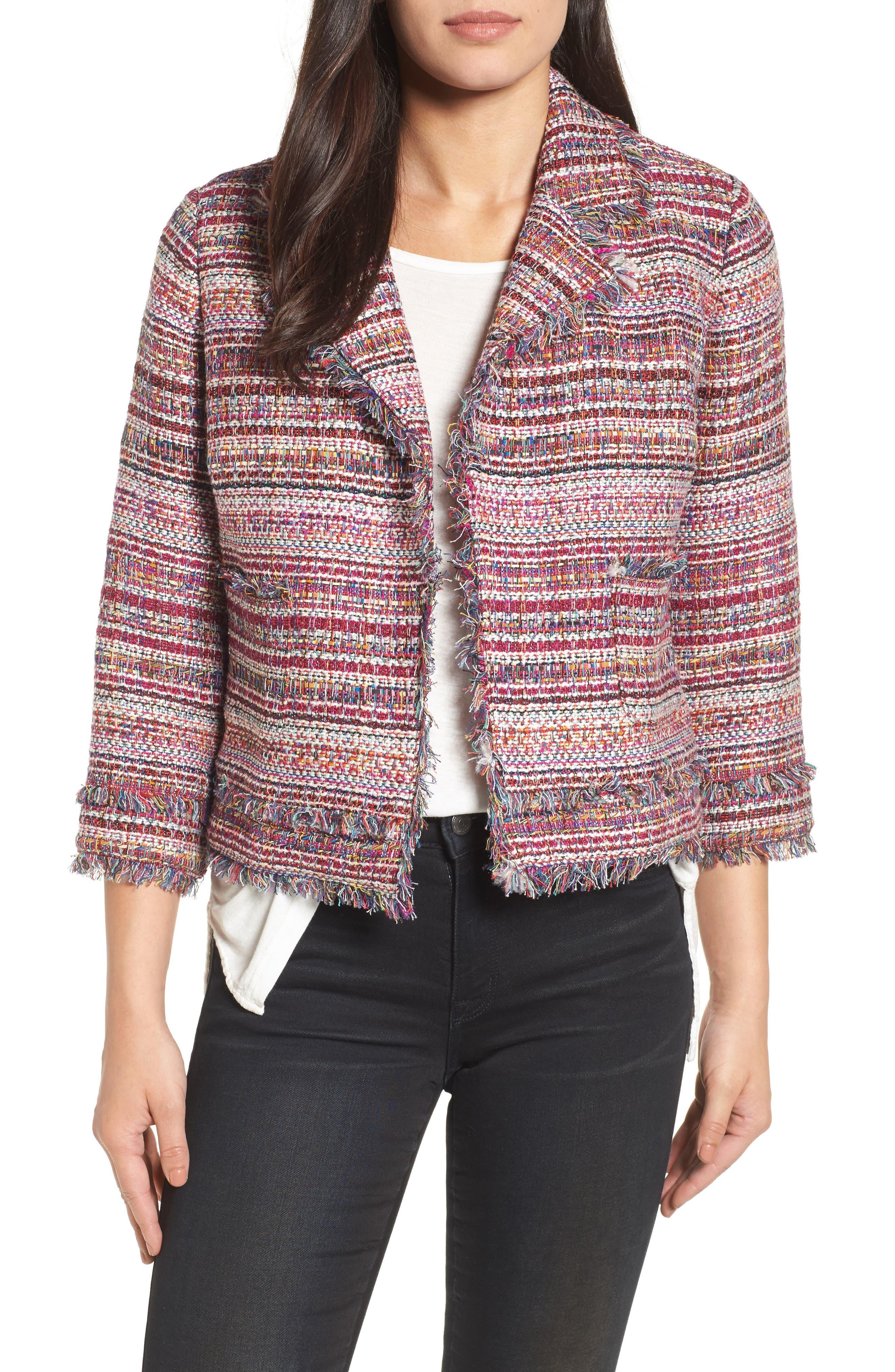 Tweed Open Front Jacket,                         Main,                         color, Red Multi Tweed