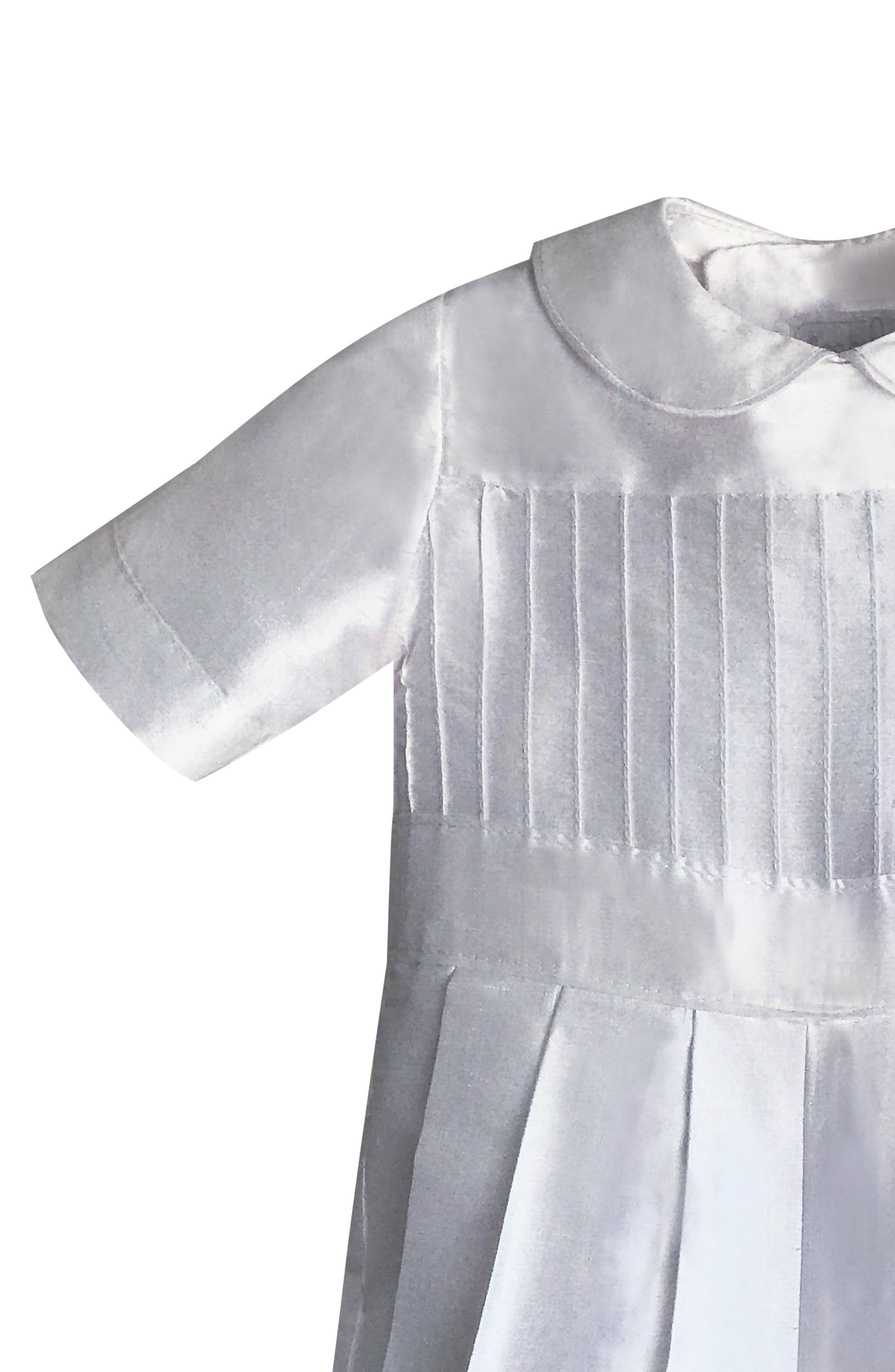 Tucked Silk Romper & Bonnet,                             Alternate thumbnail 4, color,                             White