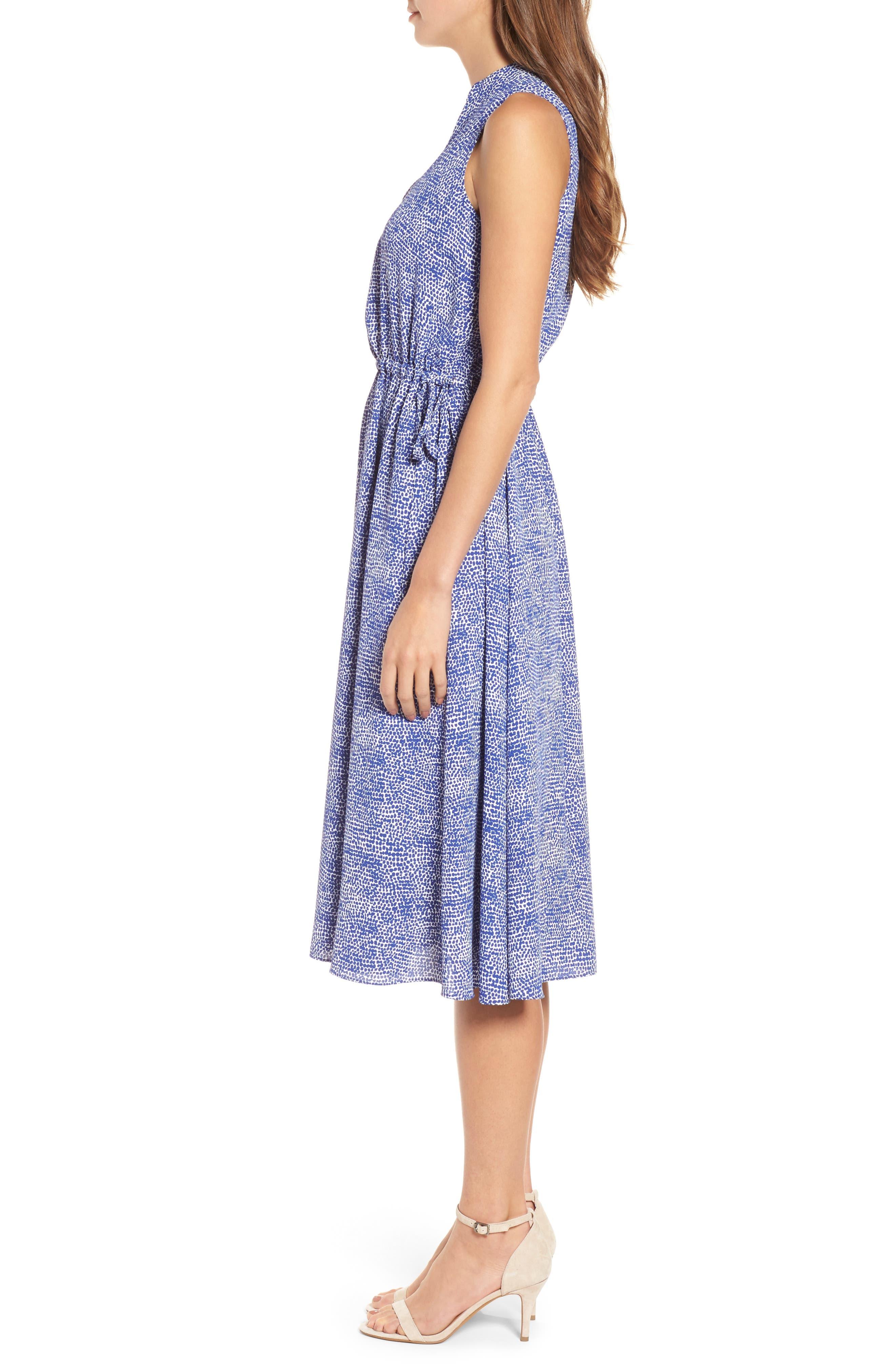 Print Drawstring Midi Dress,                             Alternate thumbnail 3, color,                             O Keefe Blue/ White Combo