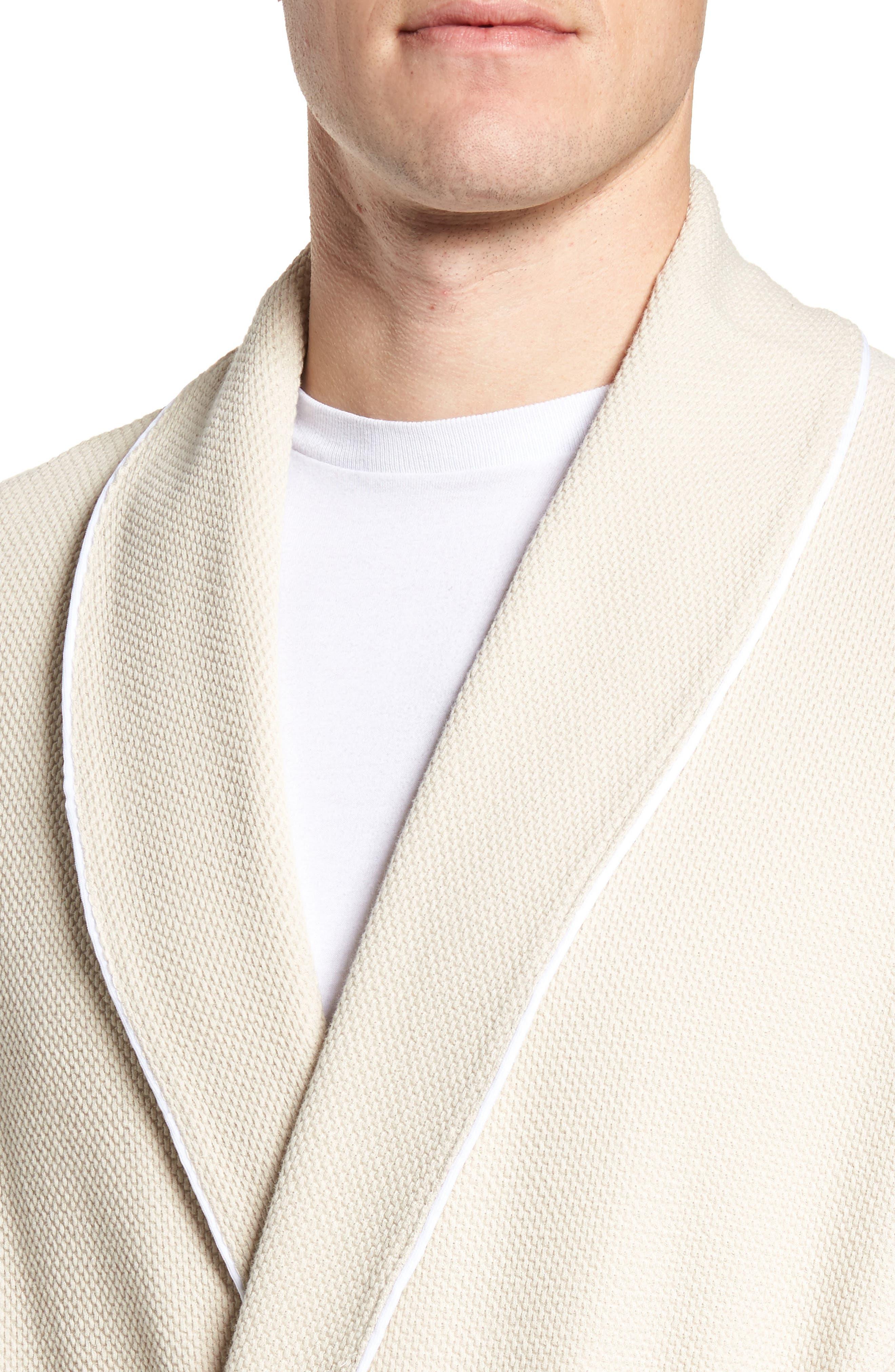 Belize Cotton Blend Robe,                             Alternate thumbnail 4, color,                             Ecru
