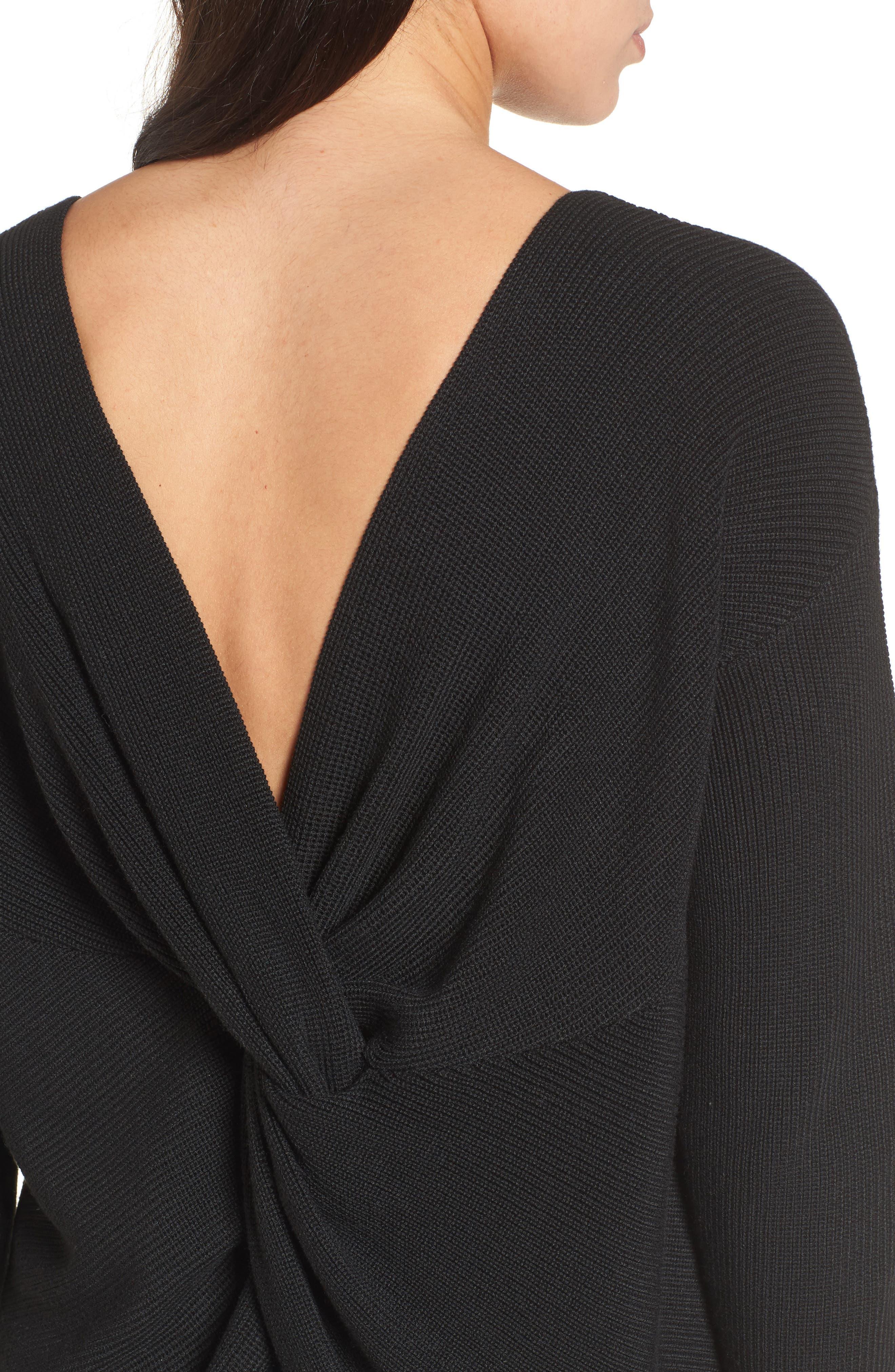 Twist Back Sweater,                             Alternate thumbnail 4, color,                             Black