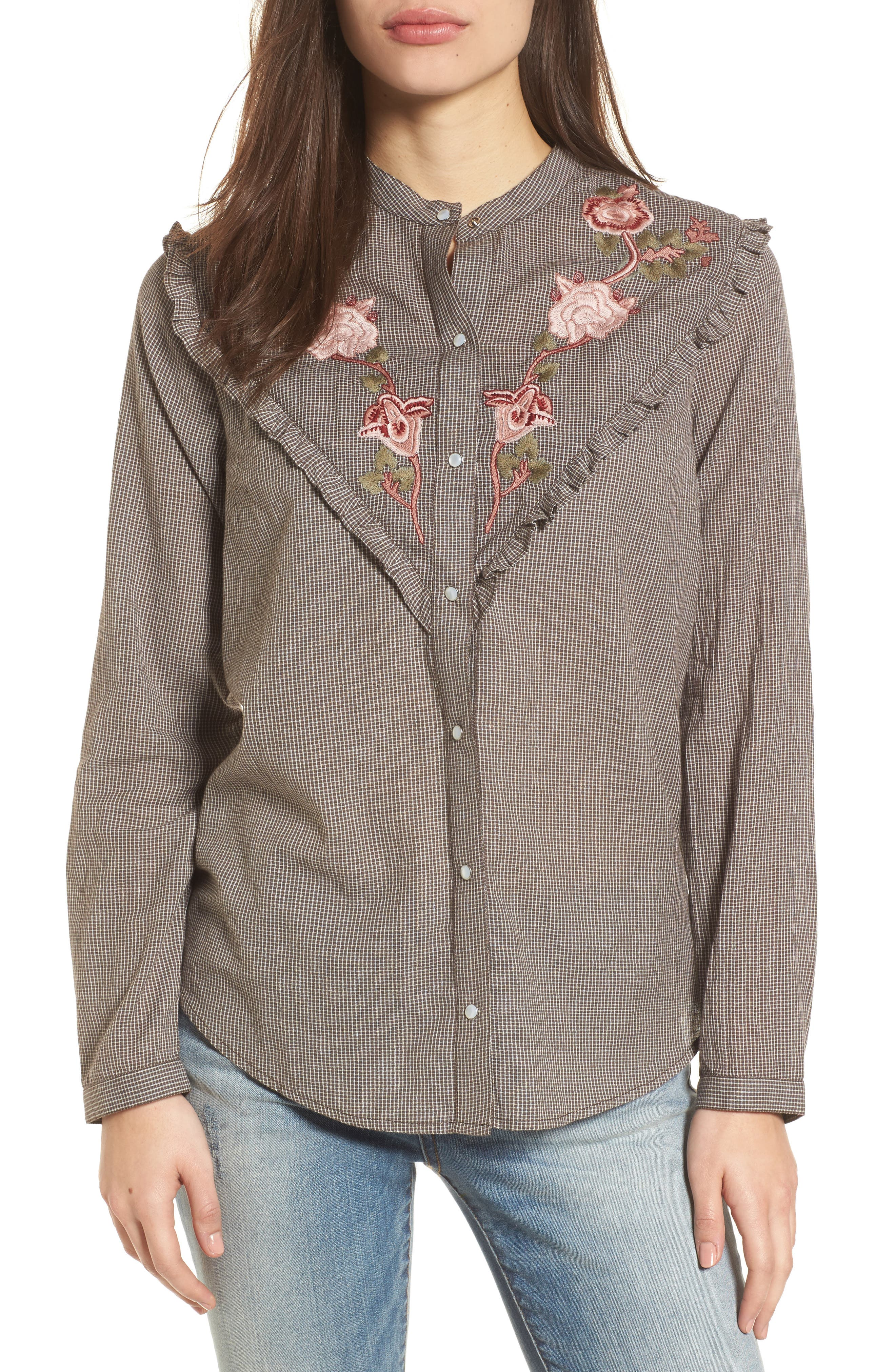 Embroidered Western Shirt,                         Main,                         color, Grey Multi