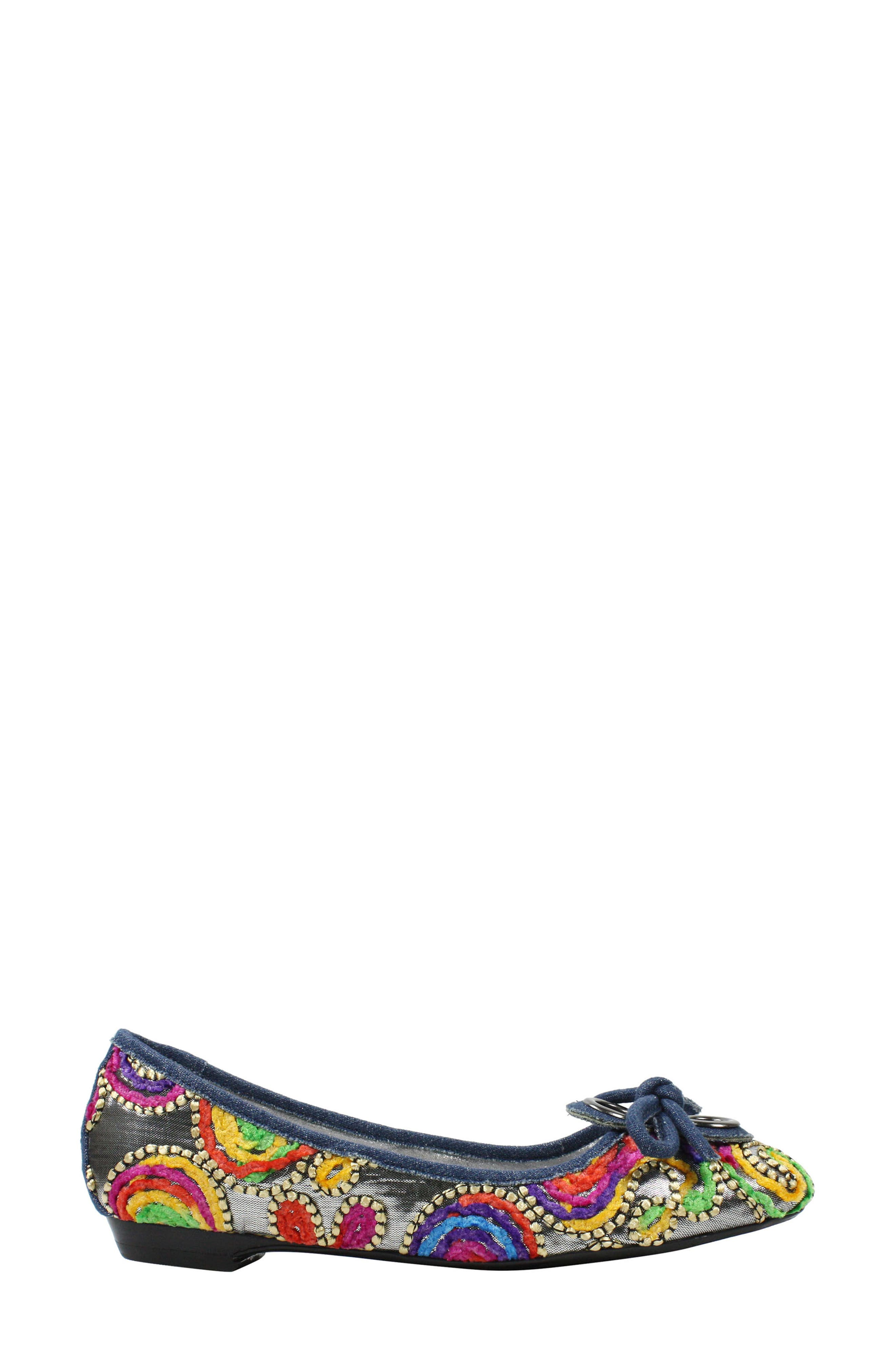 'Edie' Skimmer Flat,                             Alternate thumbnail 3, color,                             Silver/ Bright Fabric