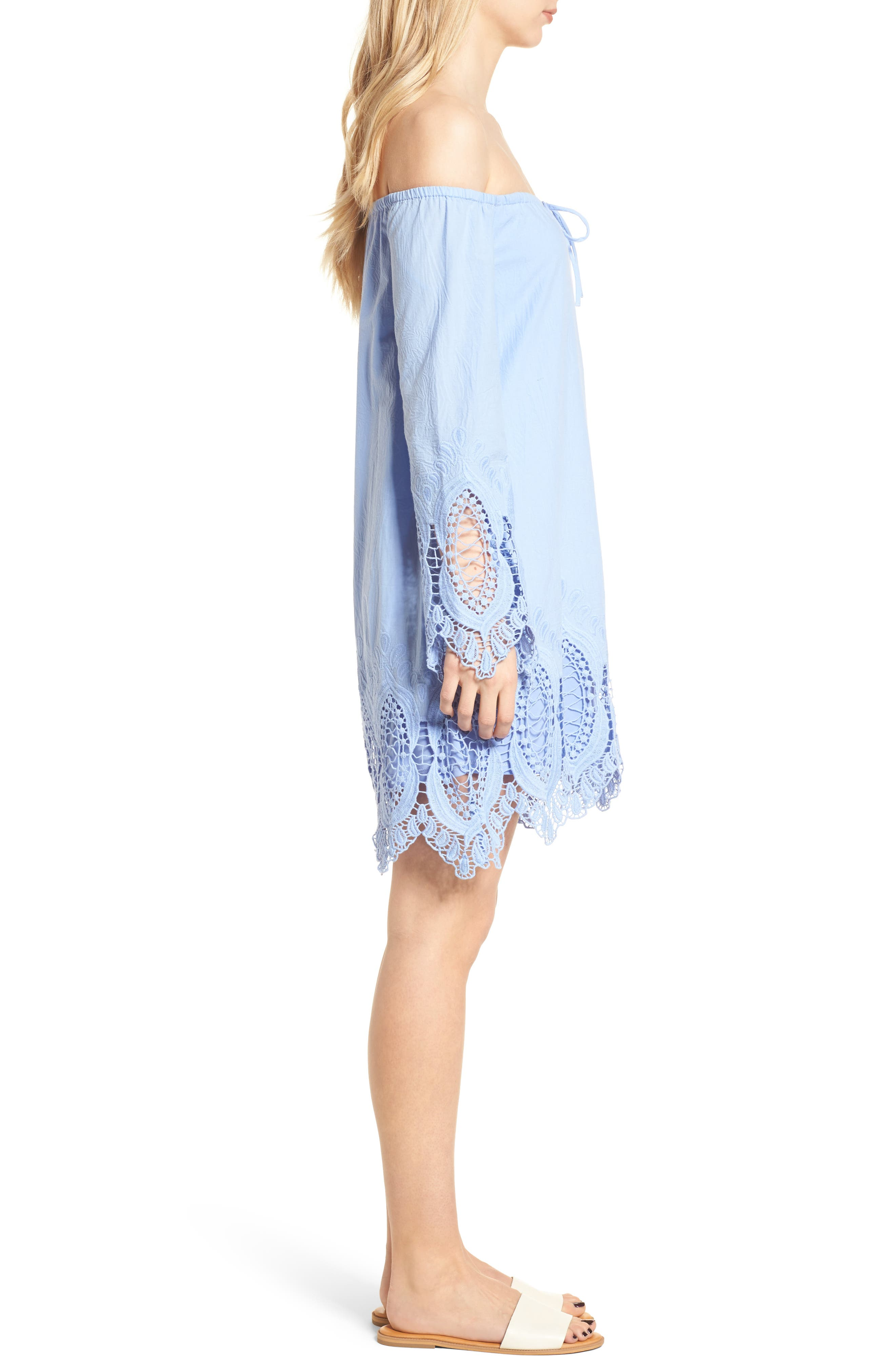 Lace Trim Off the Shoulder Dress,                             Alternate thumbnail 3, color,                             Blue Powder