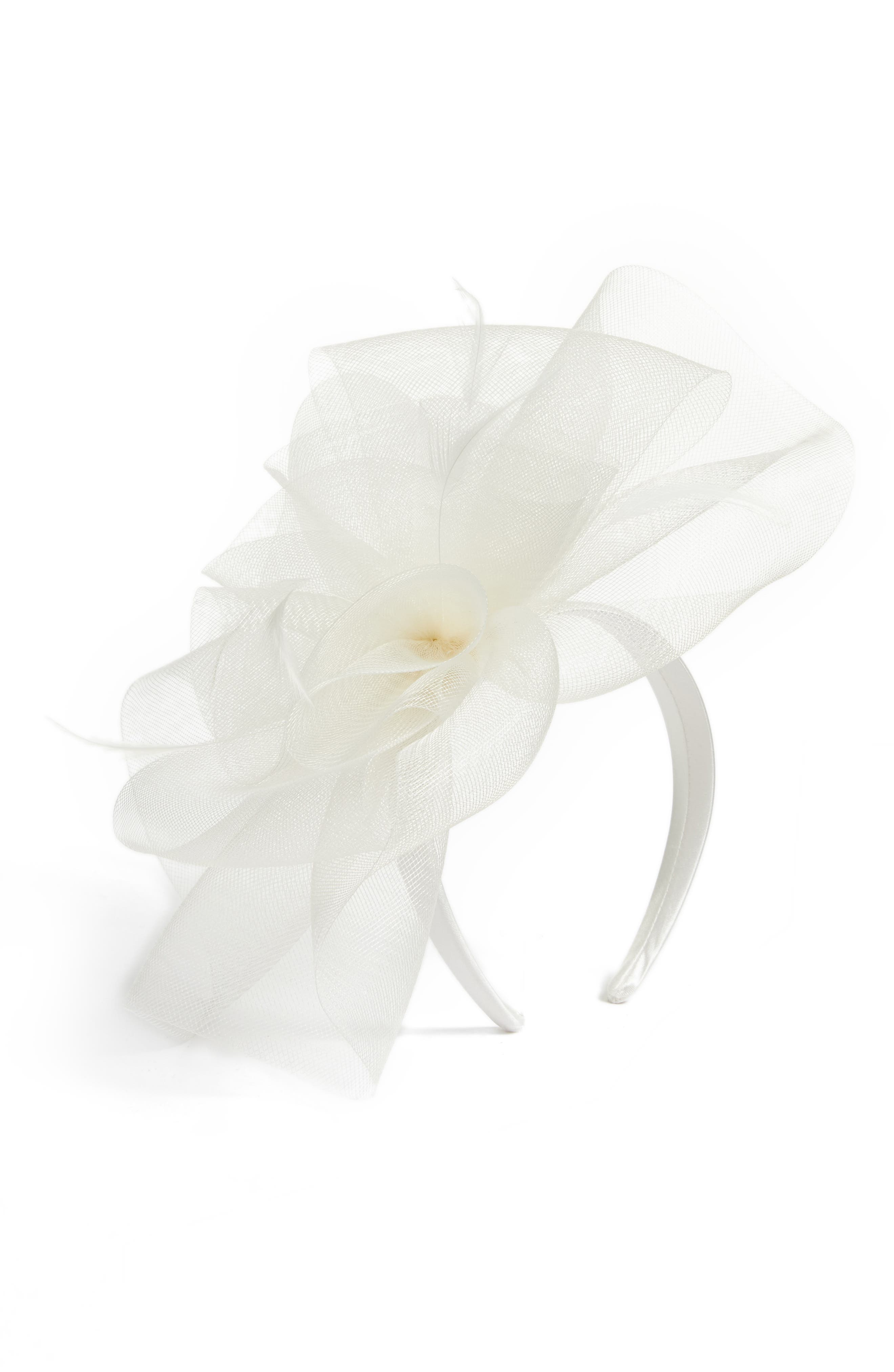 Feather Bouquet Fascinator Headband,                             Main thumbnail 1, color,                             Ivory